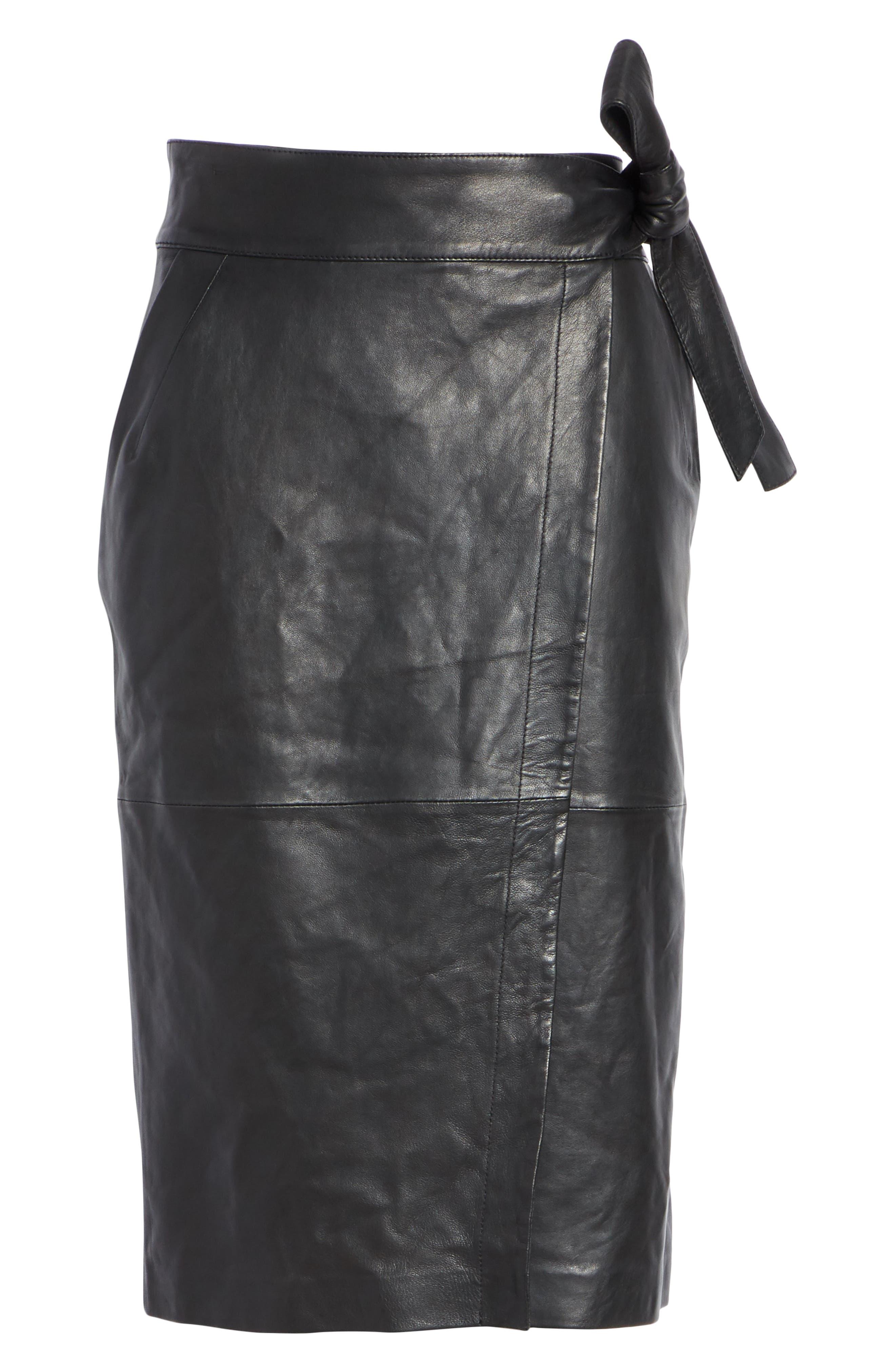 Magic Wrap Leather Skirt,                             Alternate thumbnail 6, color,                             BLACK