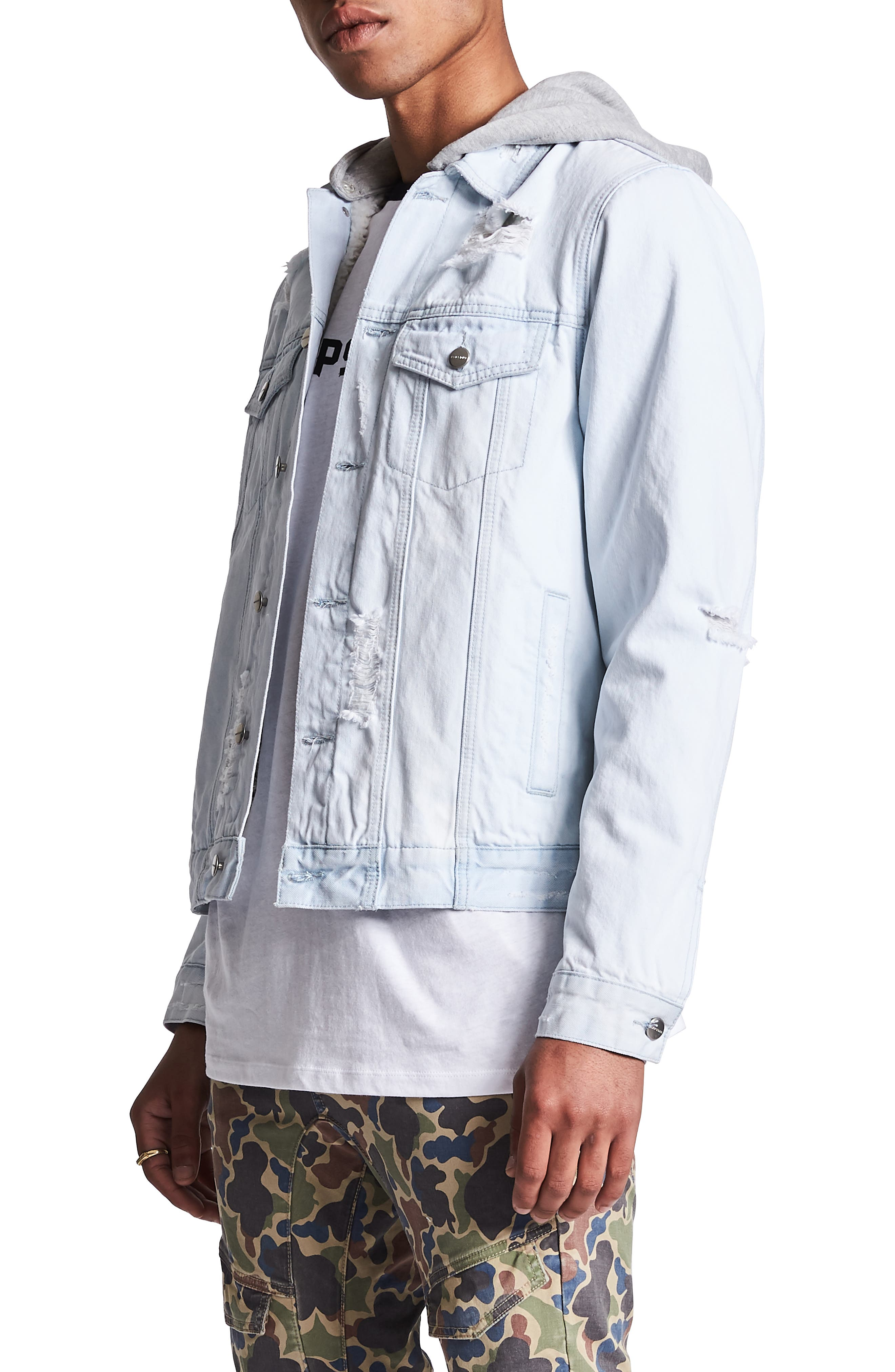 NXP,                             Sidewinder Denim Jacket with Detachable Hood,                             Alternate thumbnail 3, color,                             VIN BLEACHED INDIGO