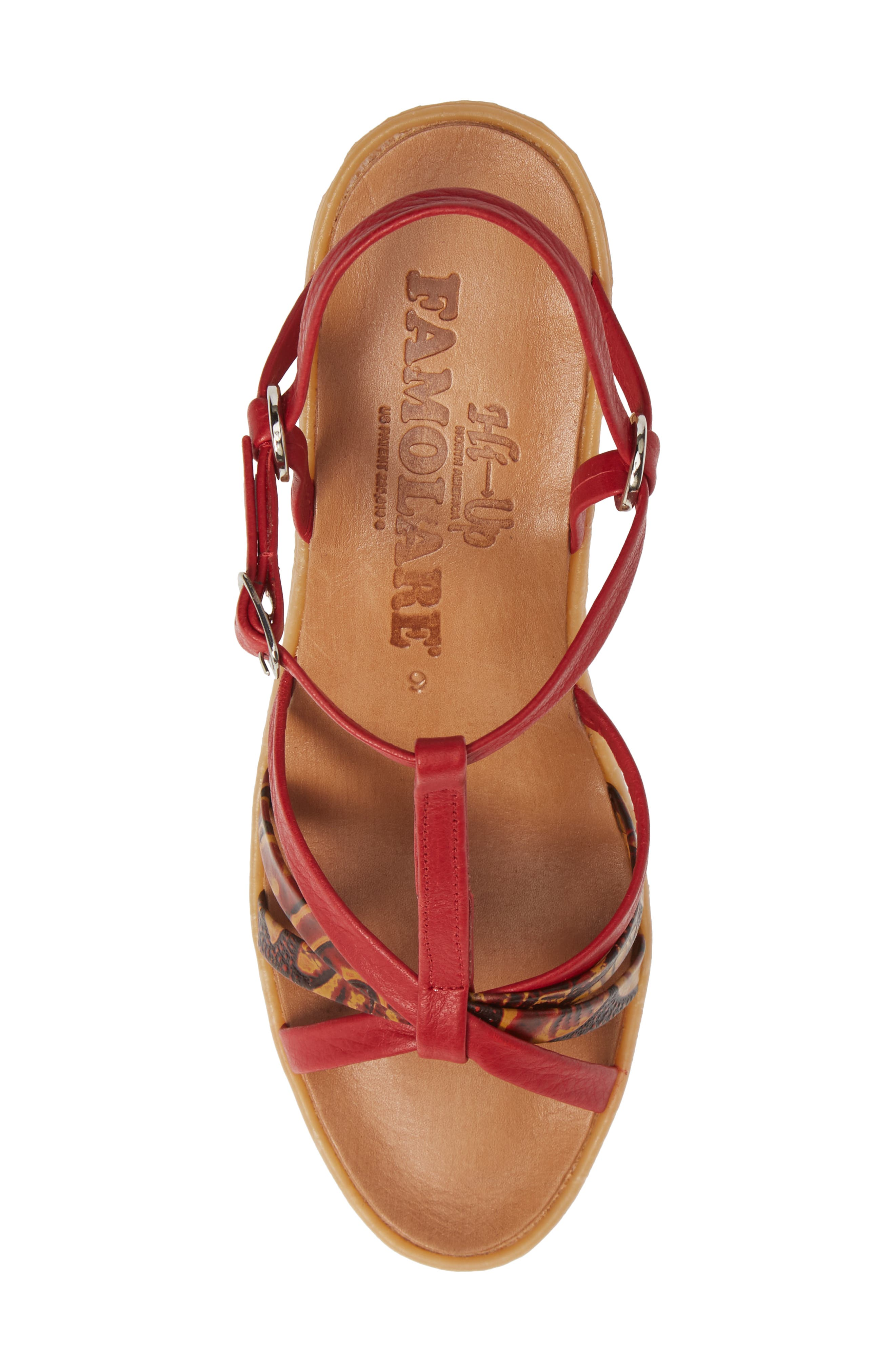 FAMOLARE,                             To a Tee Wedge Sandal,                             Alternate thumbnail 5, color,                             CORAL LEATHER