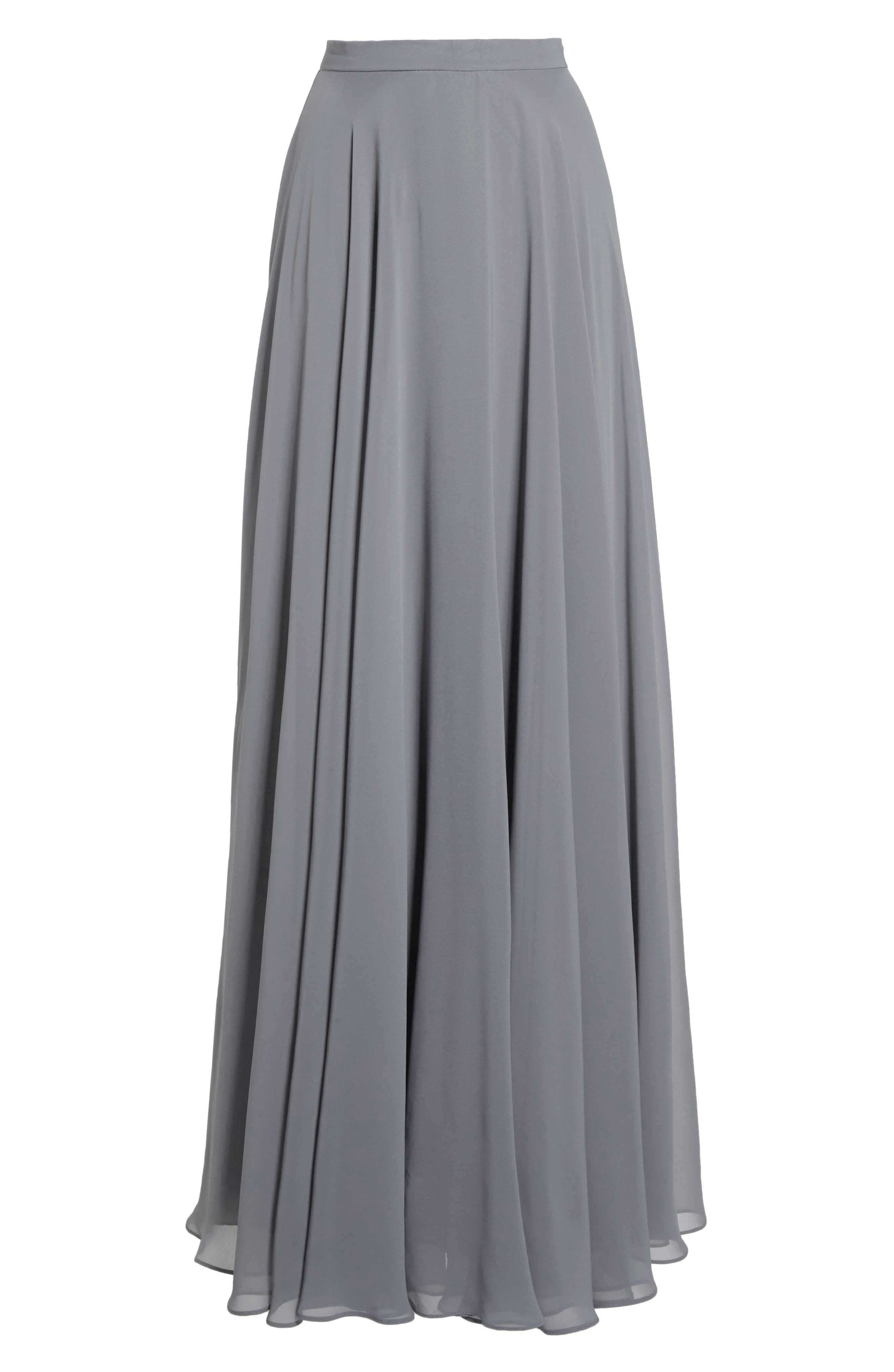 Hampton Long A-Line Chiffon Skirt,                             Alternate thumbnail 6, color,                             DENMARK BLUE
