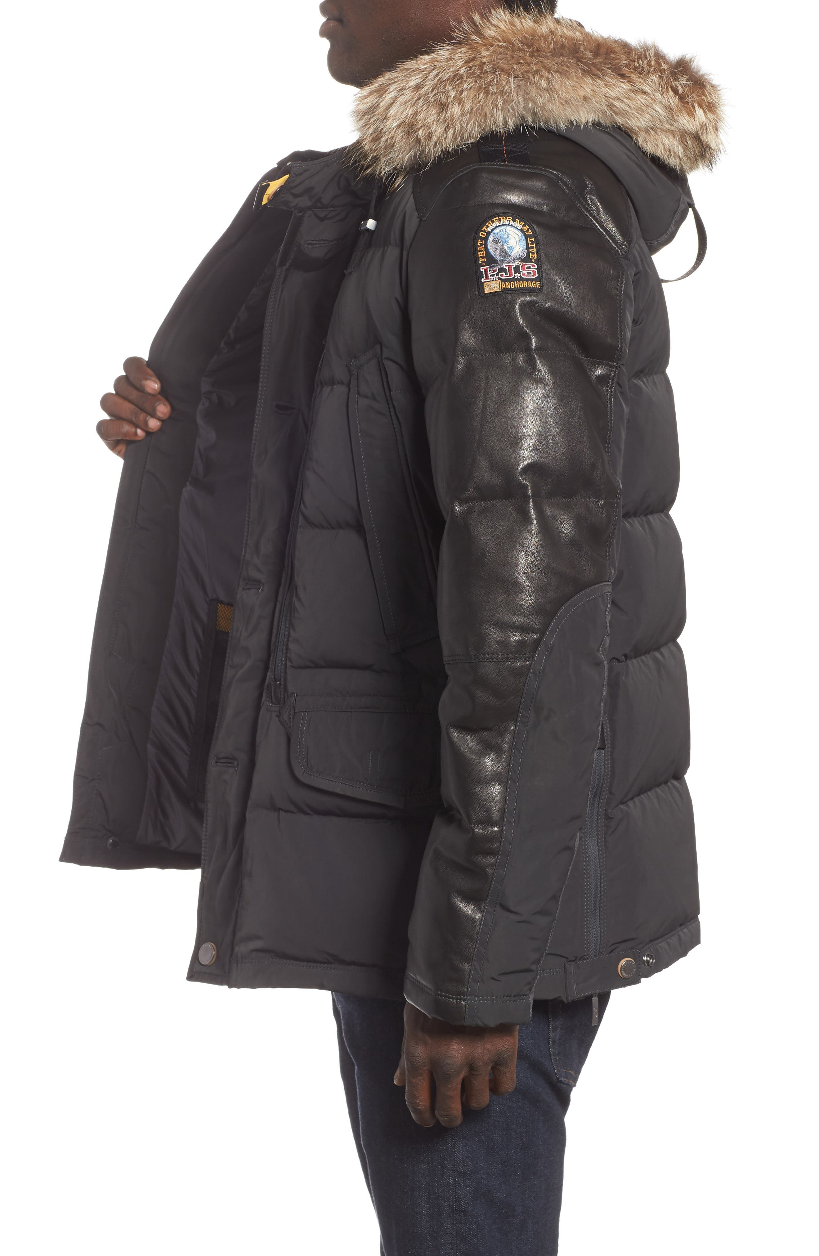 Dhole Hooded Down Jacket with Genuine Coyote Fur Trim,                             Alternate thumbnail 3, color,                             060