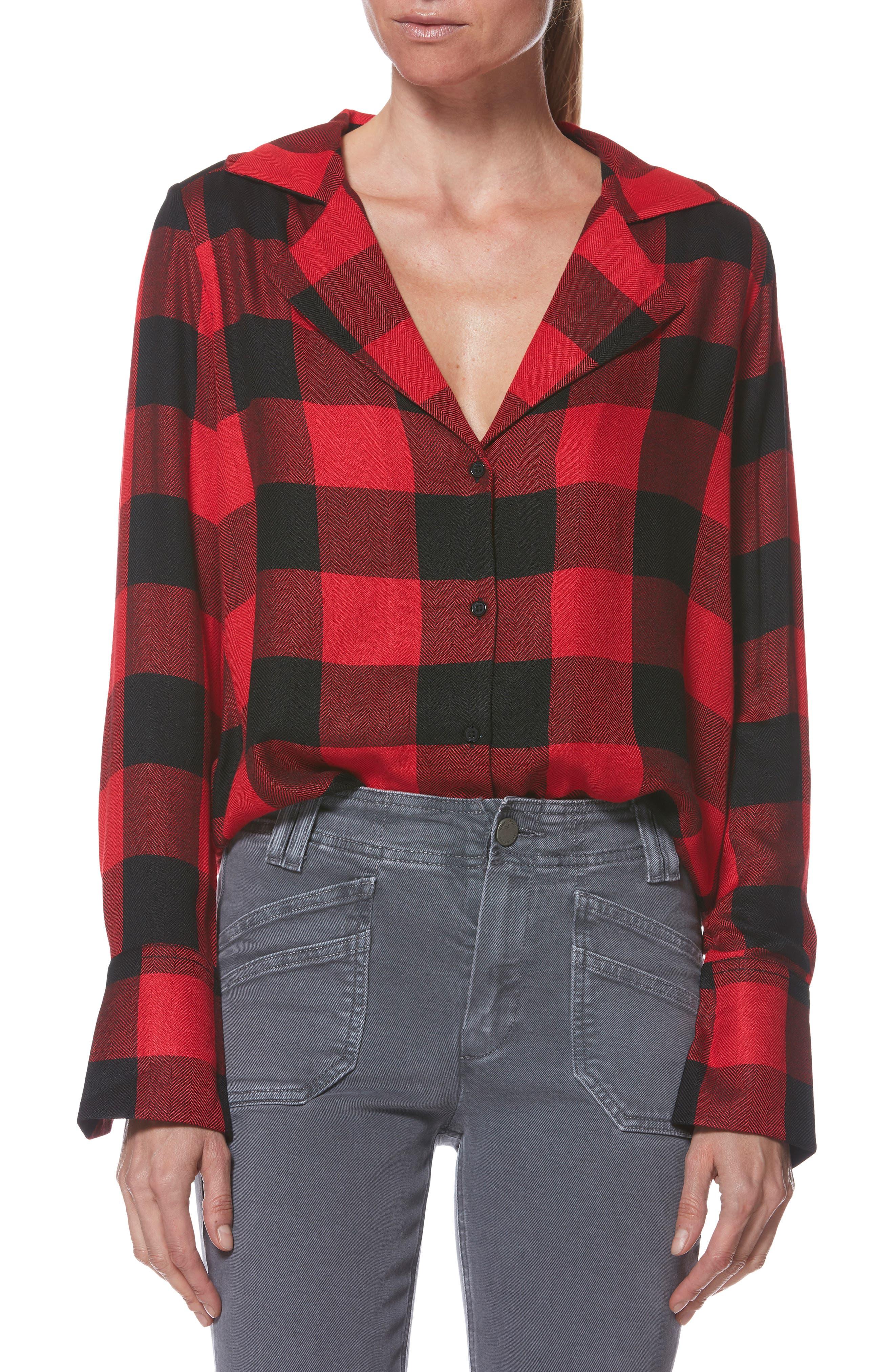 PAIGE,                             Elora Shirt,                             Main thumbnail 1, color,                             TRUE RED / BLACK