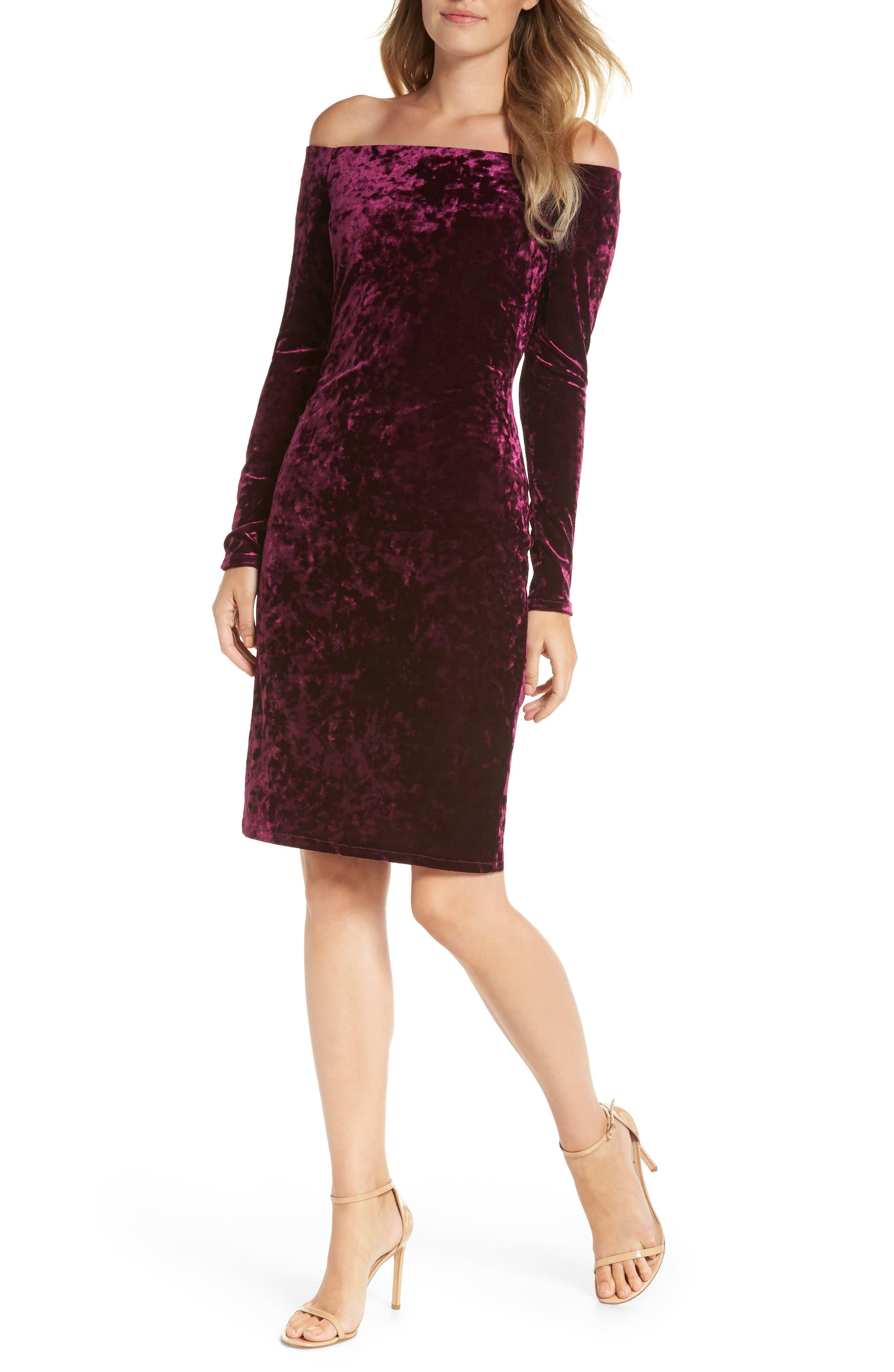 Eliza J Off The Shoulder Velvet Sheath Dress, Purple