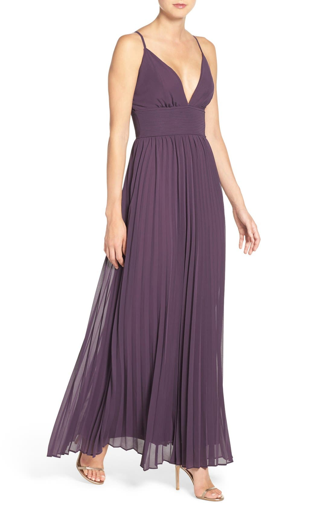 Plunging V-Neck Pleat Georgette Gown,                             Alternate thumbnail 17, color,