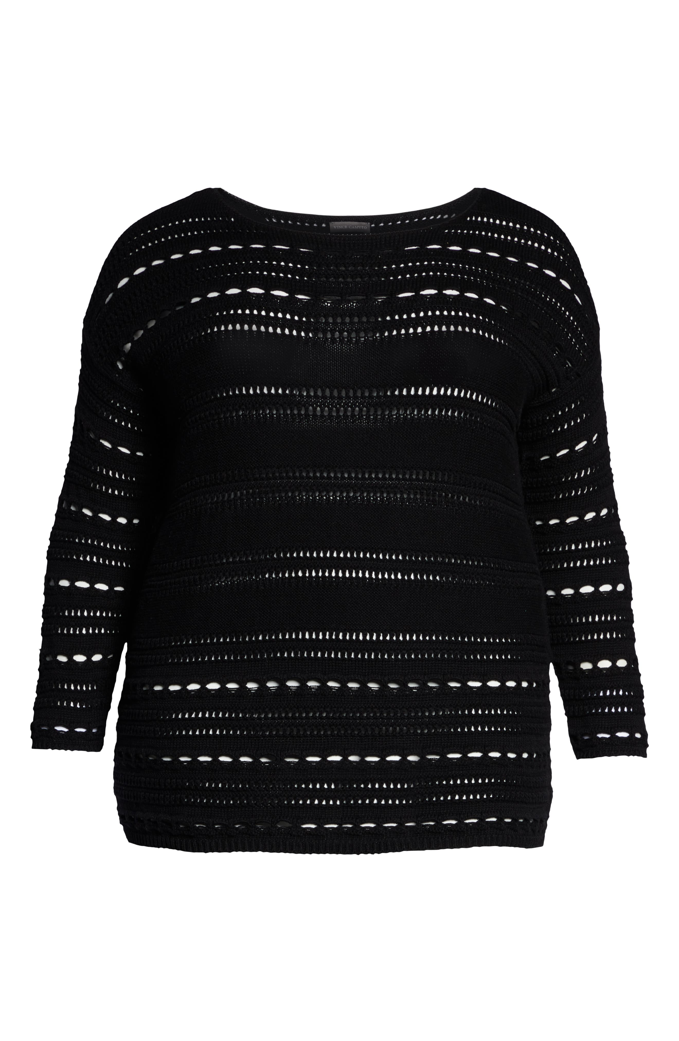 Open Stitch Cotton Sweater,                             Alternate thumbnail 6, color,                             RICH BLACK