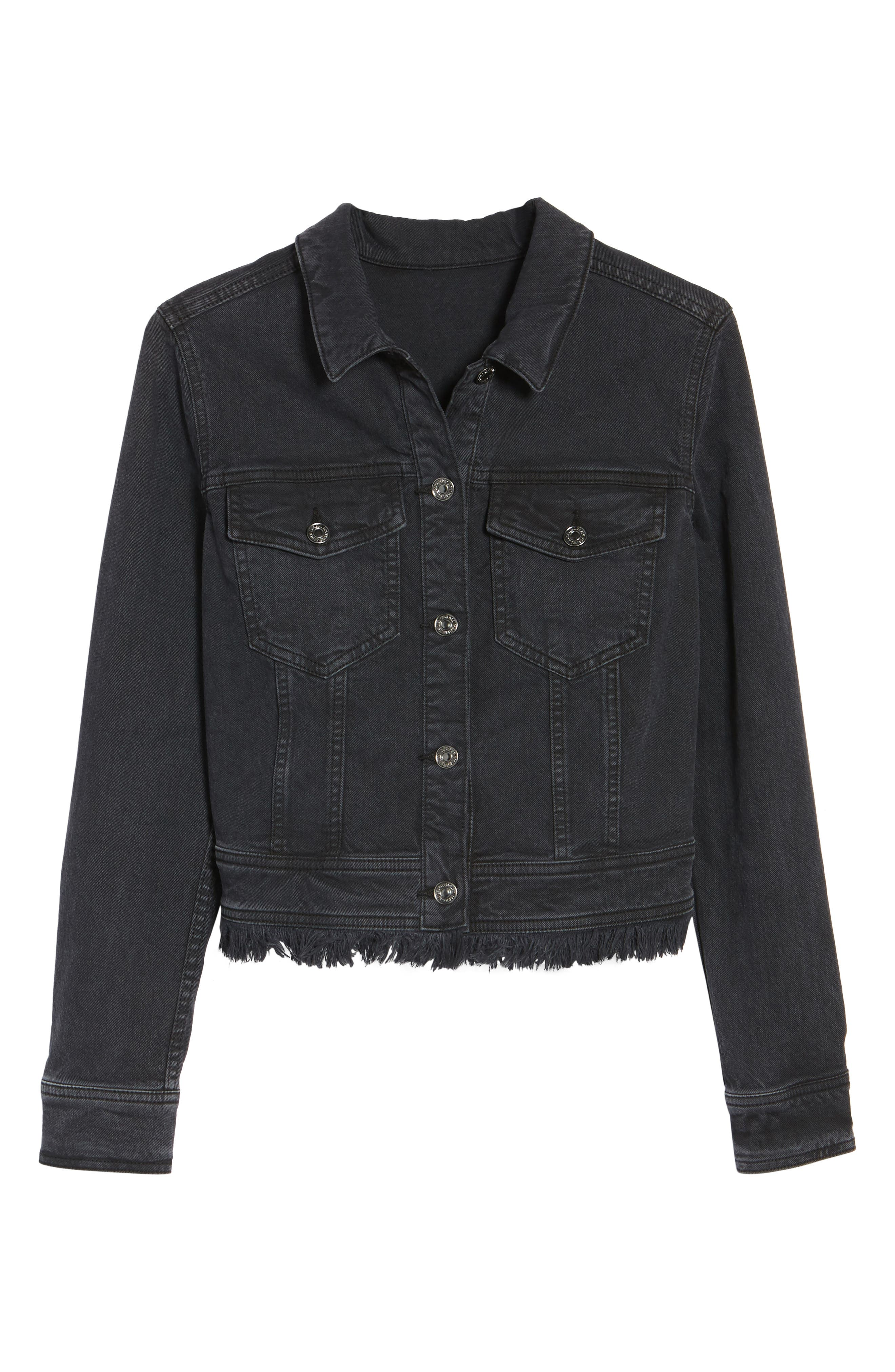 Embellished Boyfriend Denim Jacket,                             Alternate thumbnail 5, color,                             005