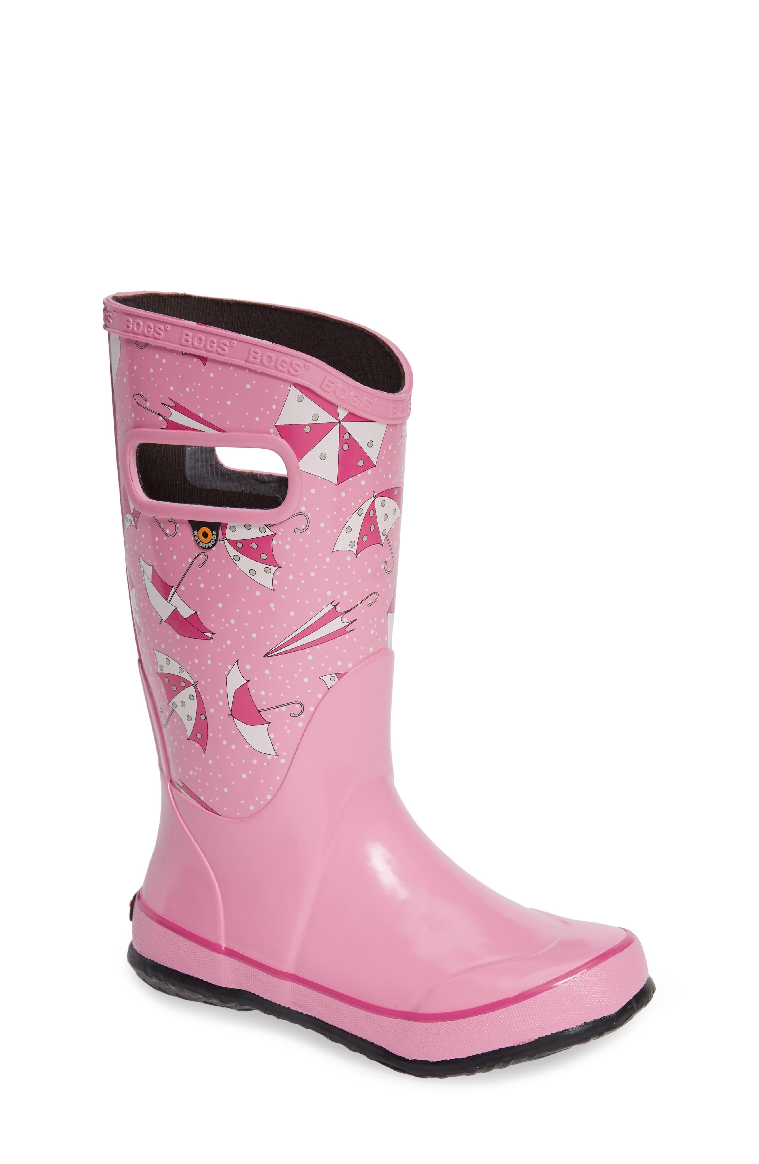 Umbrellas Waterproof Rubber Rain Boot,                             Main thumbnail 1, color,                             PINK MULTI