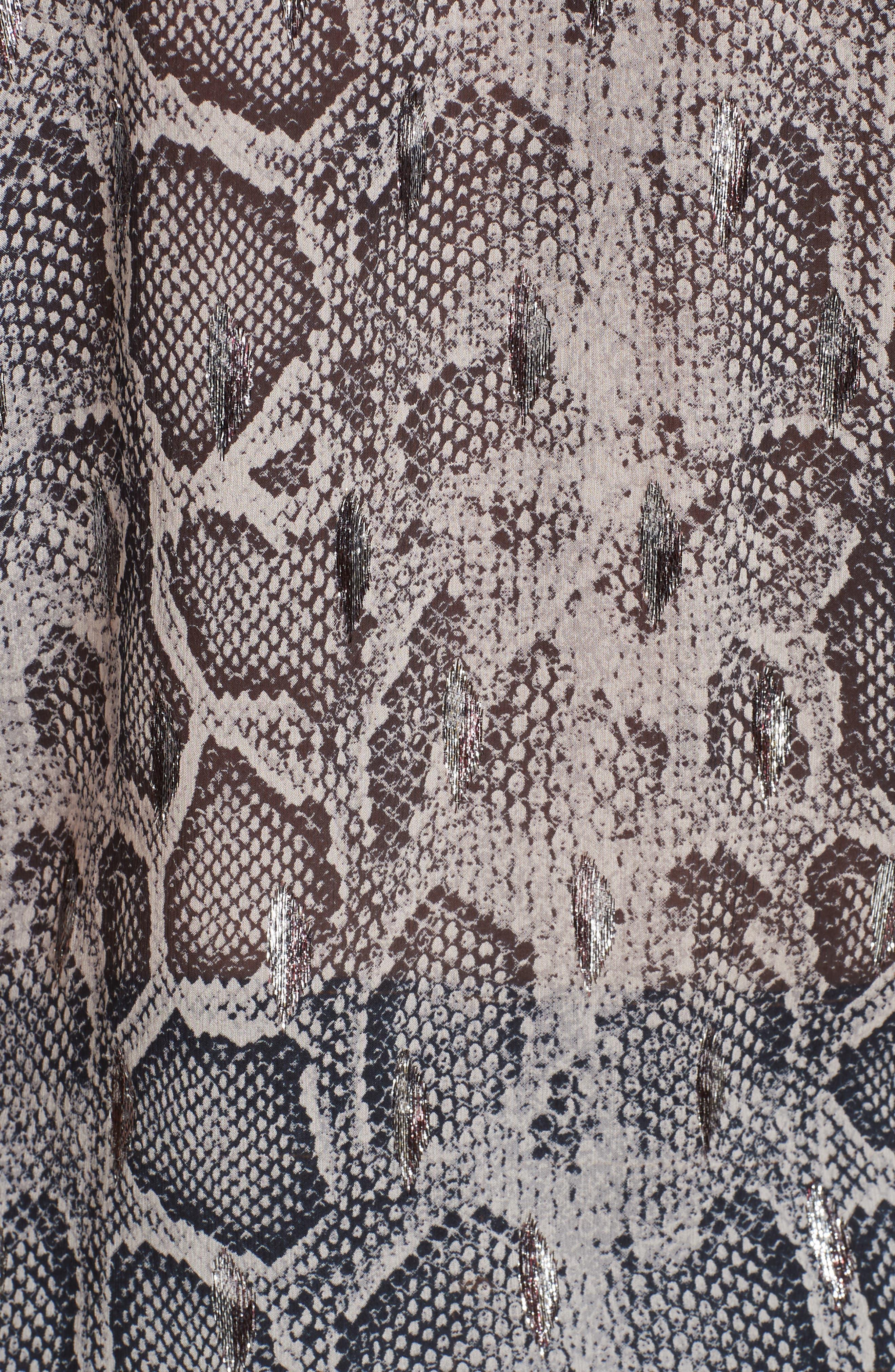 Ruffled Snakeskin Print Blouse,                             Alternate thumbnail 5, color,                             WASHED BLACK COMBO