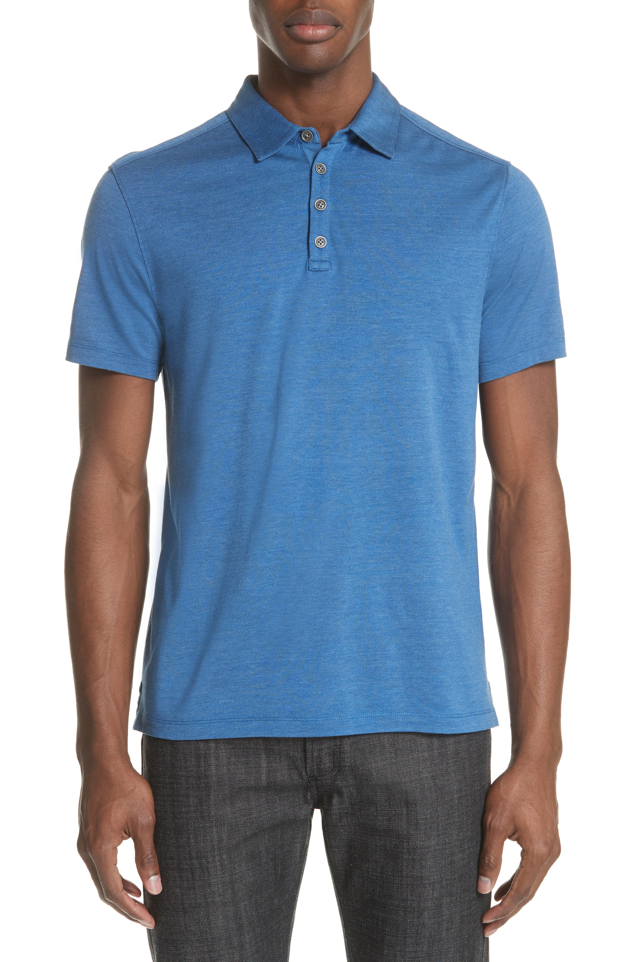 Hampton Silk Blend Jersey Polo,                             Main thumbnail 1, color,                             DUTCH BLUE
