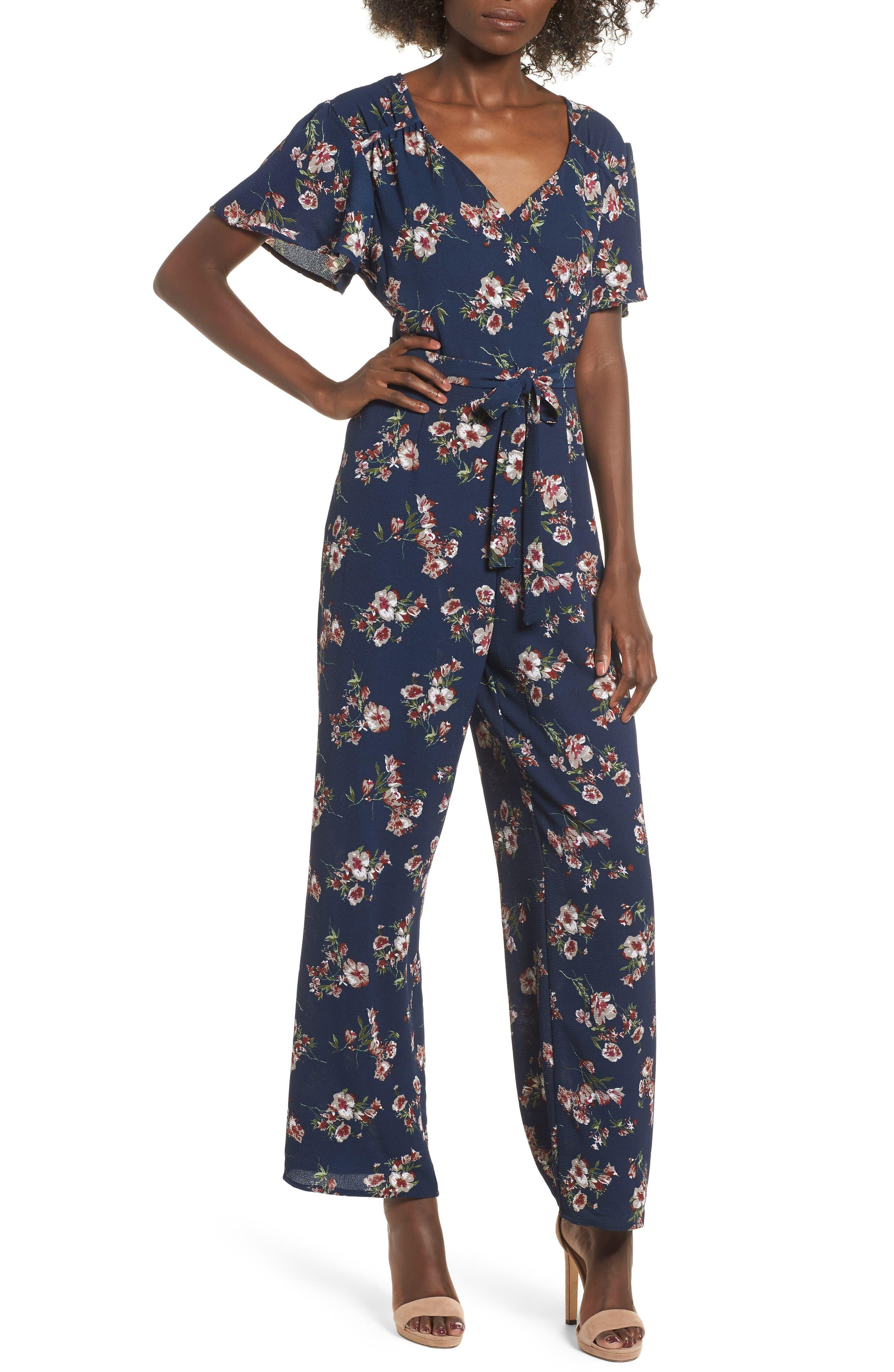 Floral Surplice Jumpsuit,                         Main,                         color, NAVY