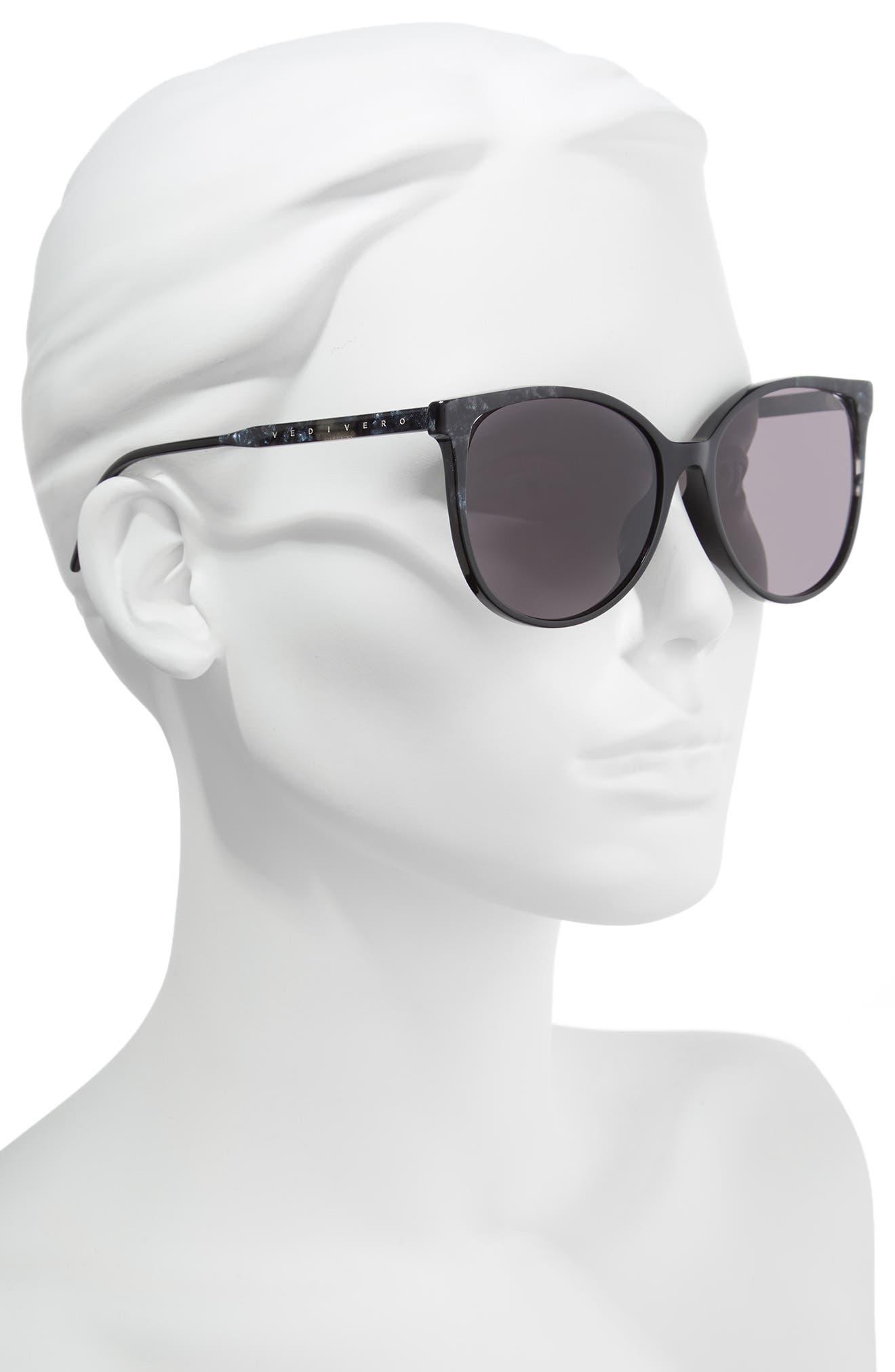 59mm Round Sunglasses,                             Alternate thumbnail 2, color,                             BLACK/BROWN