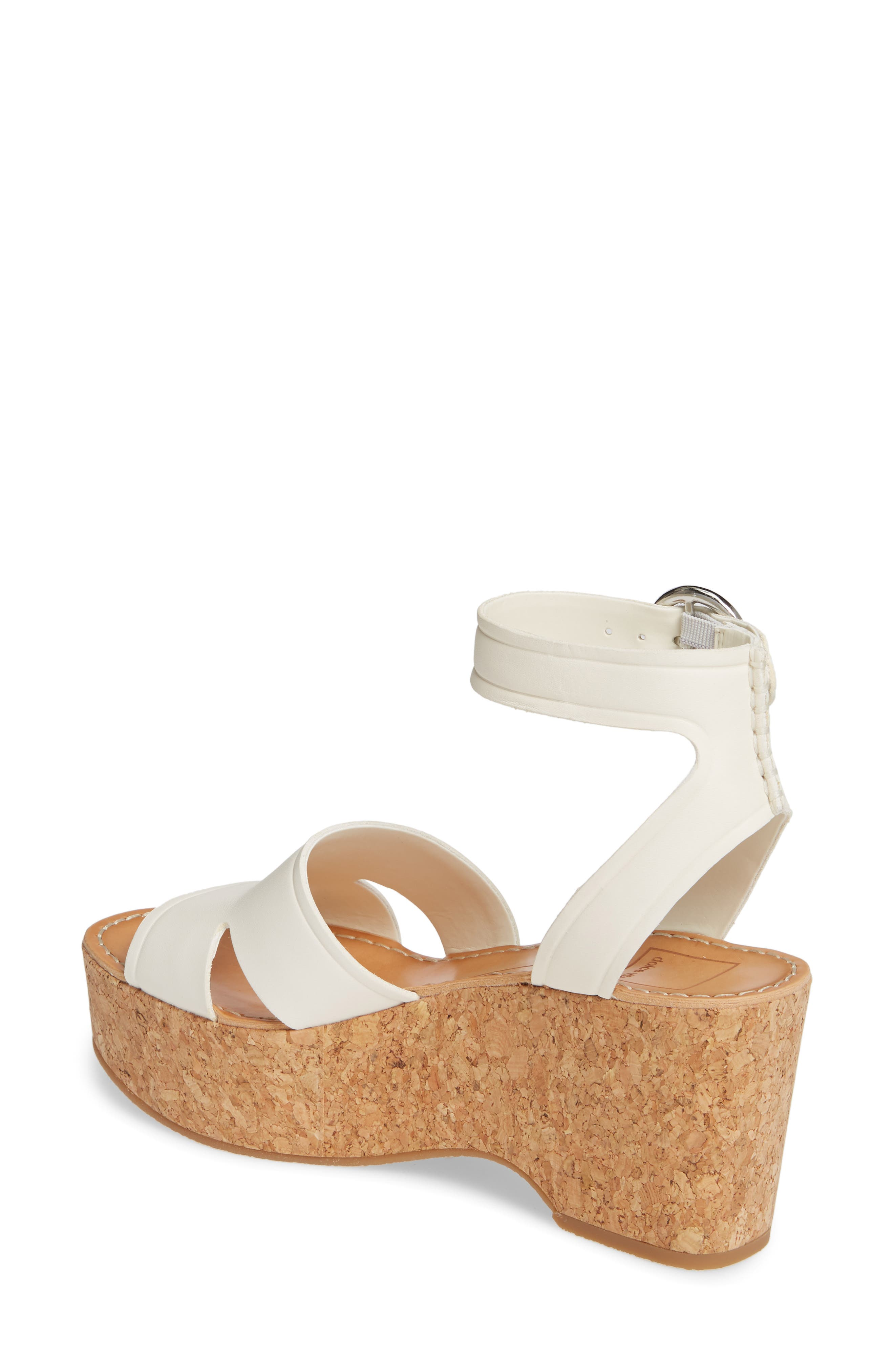 8d0f565a7fcc Dolce Vita Women s Linda Leather   Cork Platform Sandals In Ivory Leather
