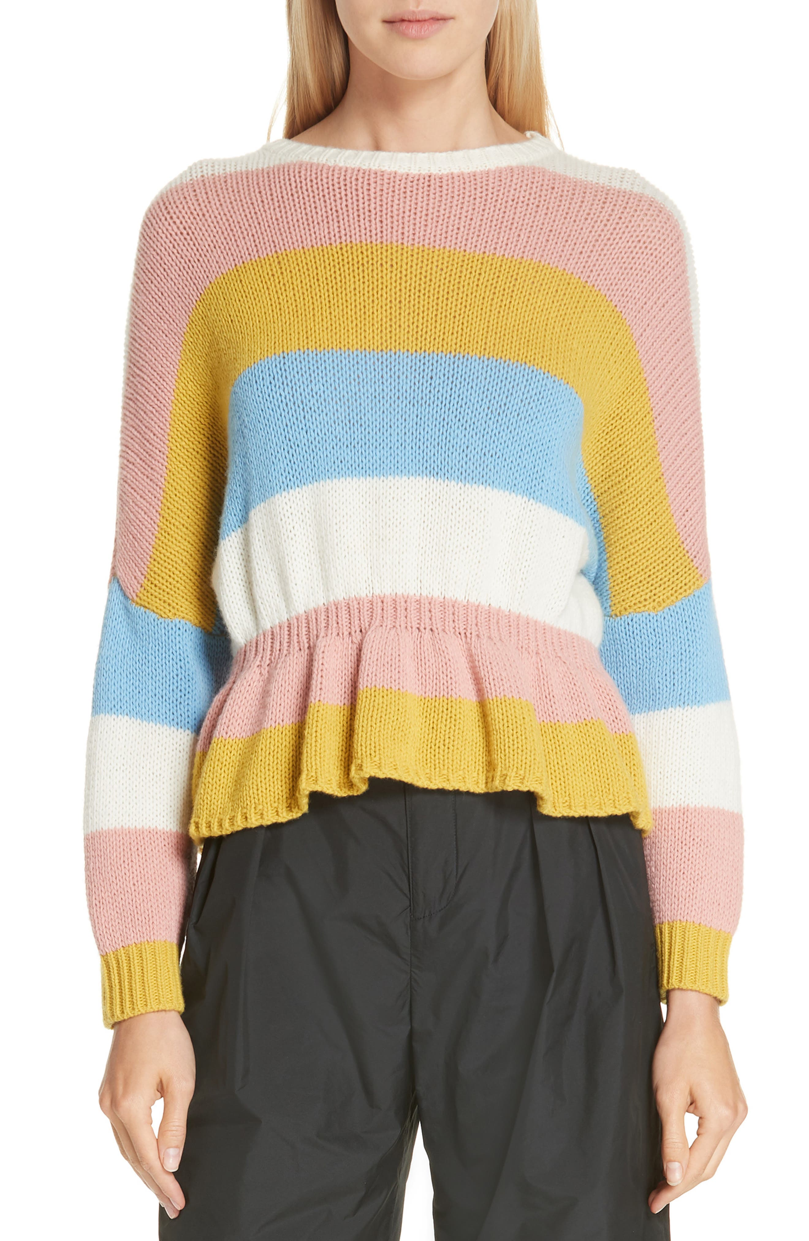 RED VALENTINO Ruffle Hem Stripe Wool Sweater, Main, color, 110