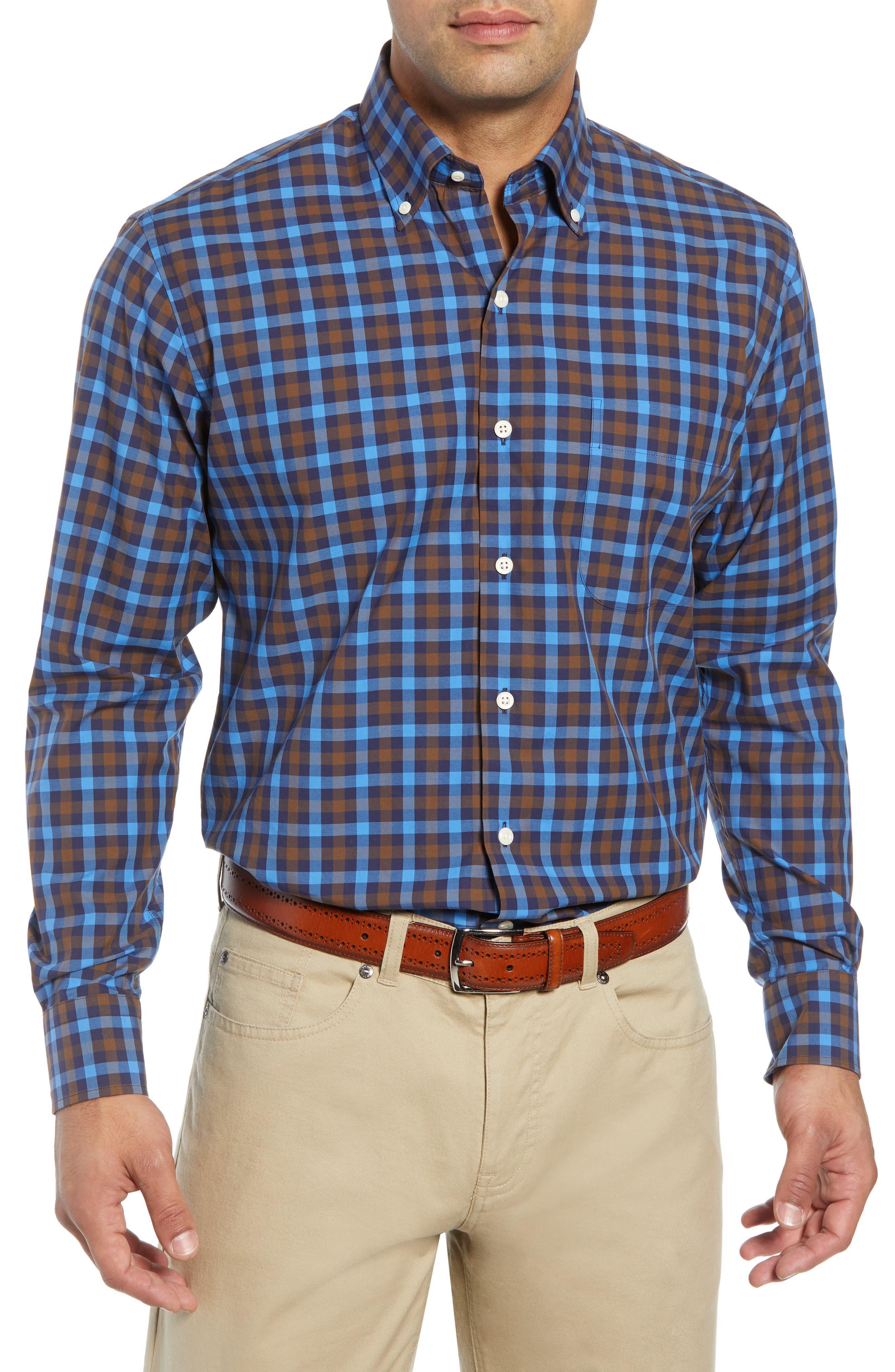 Men'S Moorland Multi-Gingham Sport Shirt in Marina Blue