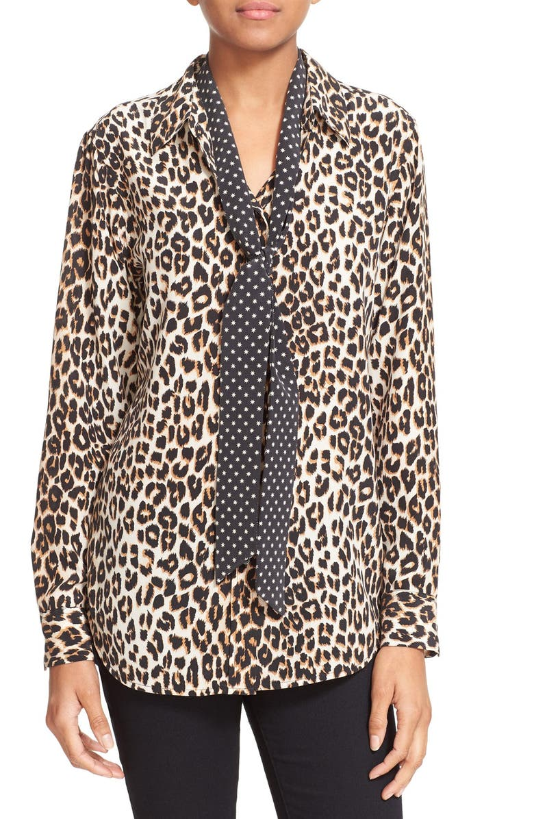 2c7172a21b EQUIPMENT Kate Moss for Equipment  Slim Signature  Leopard Print Silk Shirt  with Tie
