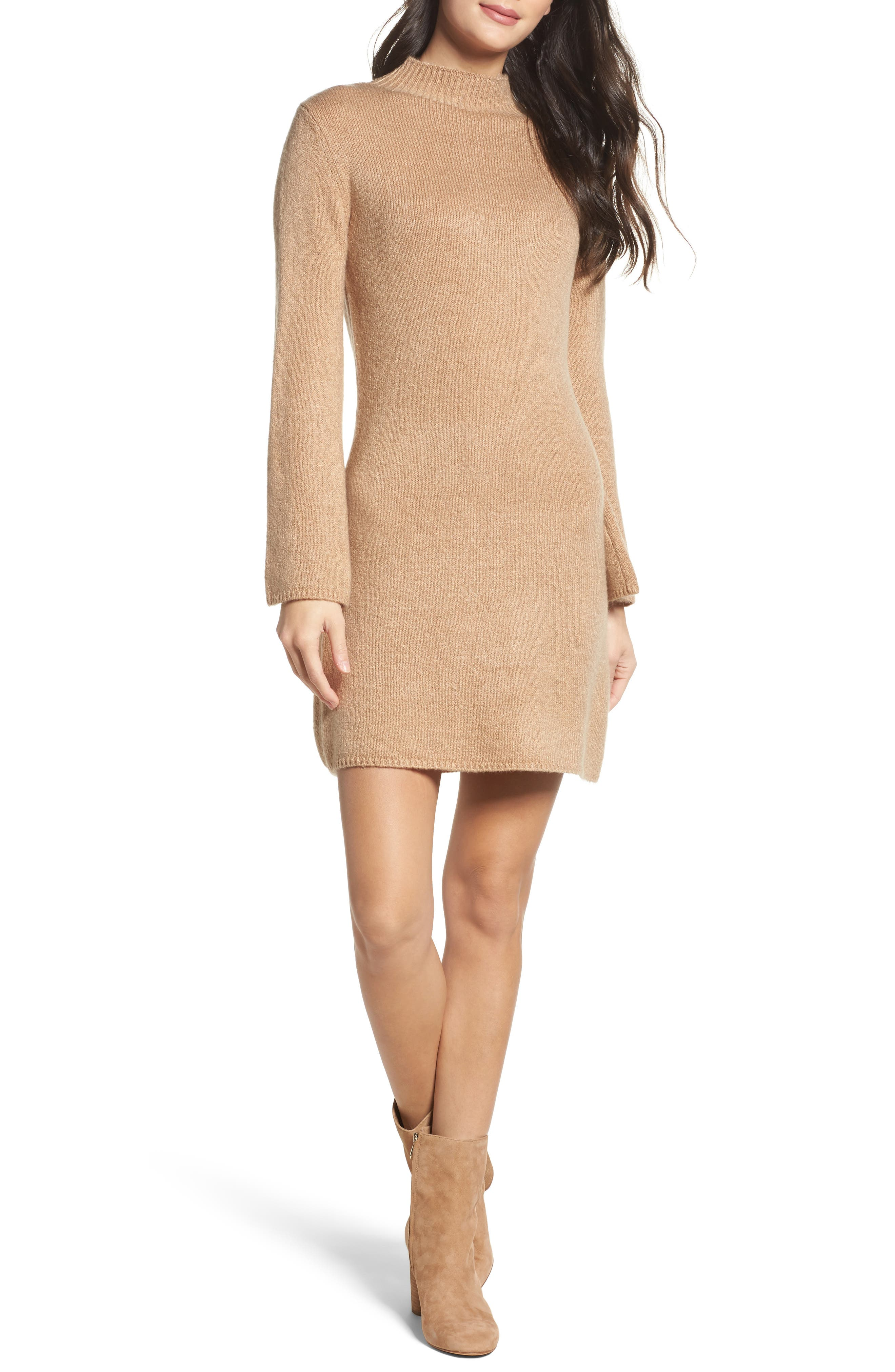 Bell Sleeve Knit Dress,                         Main,                         color, 208