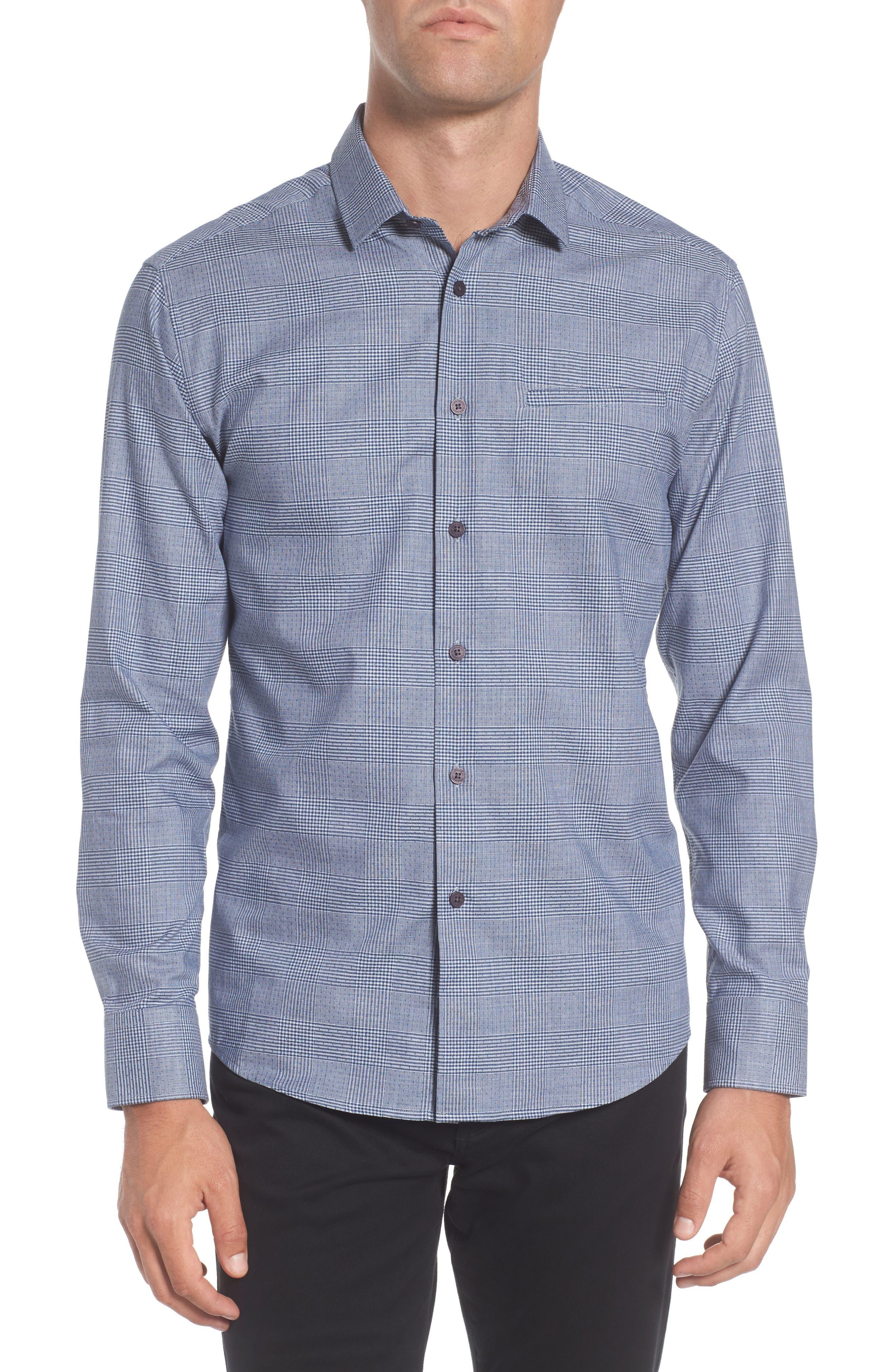 Hacking Slim Fit Glen Plaid Sport Shirt,                         Main,                         color, 420