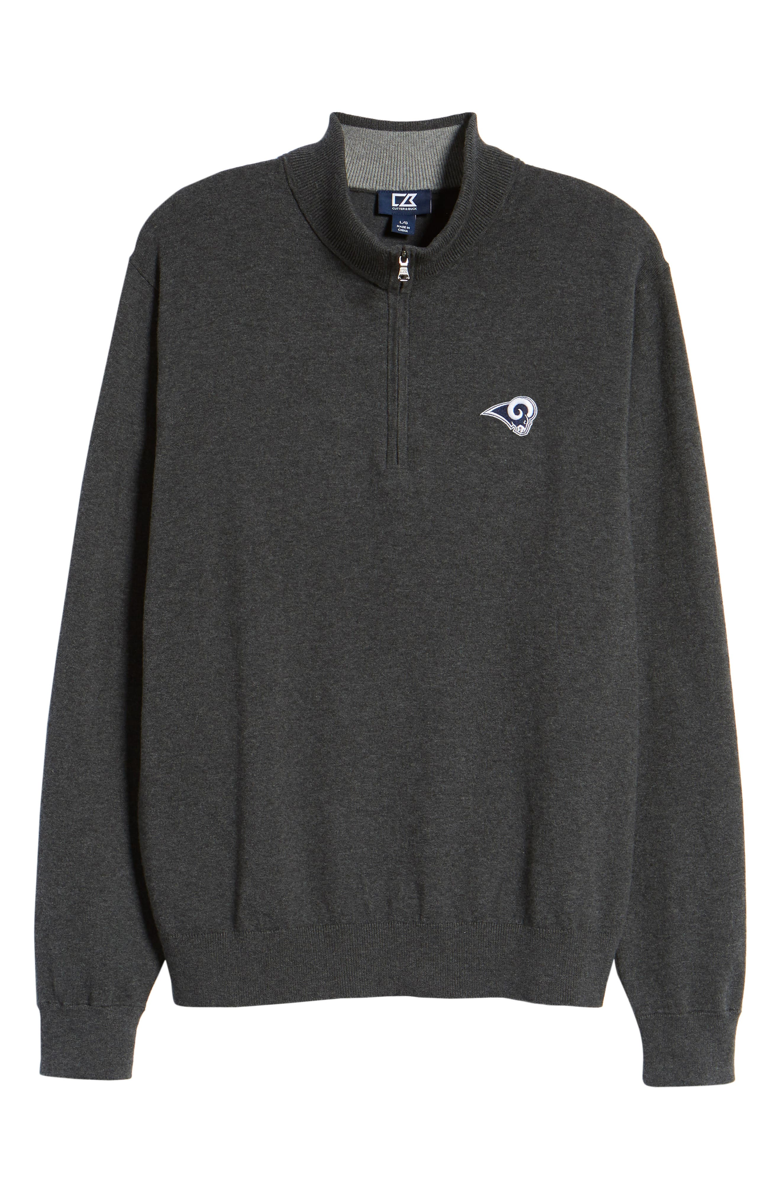 Los Angeles Rams - Lakemont Regular Fit Quarter Zip Sweater,                             Alternate thumbnail 6, color,                             CHARCOAL HEATHER