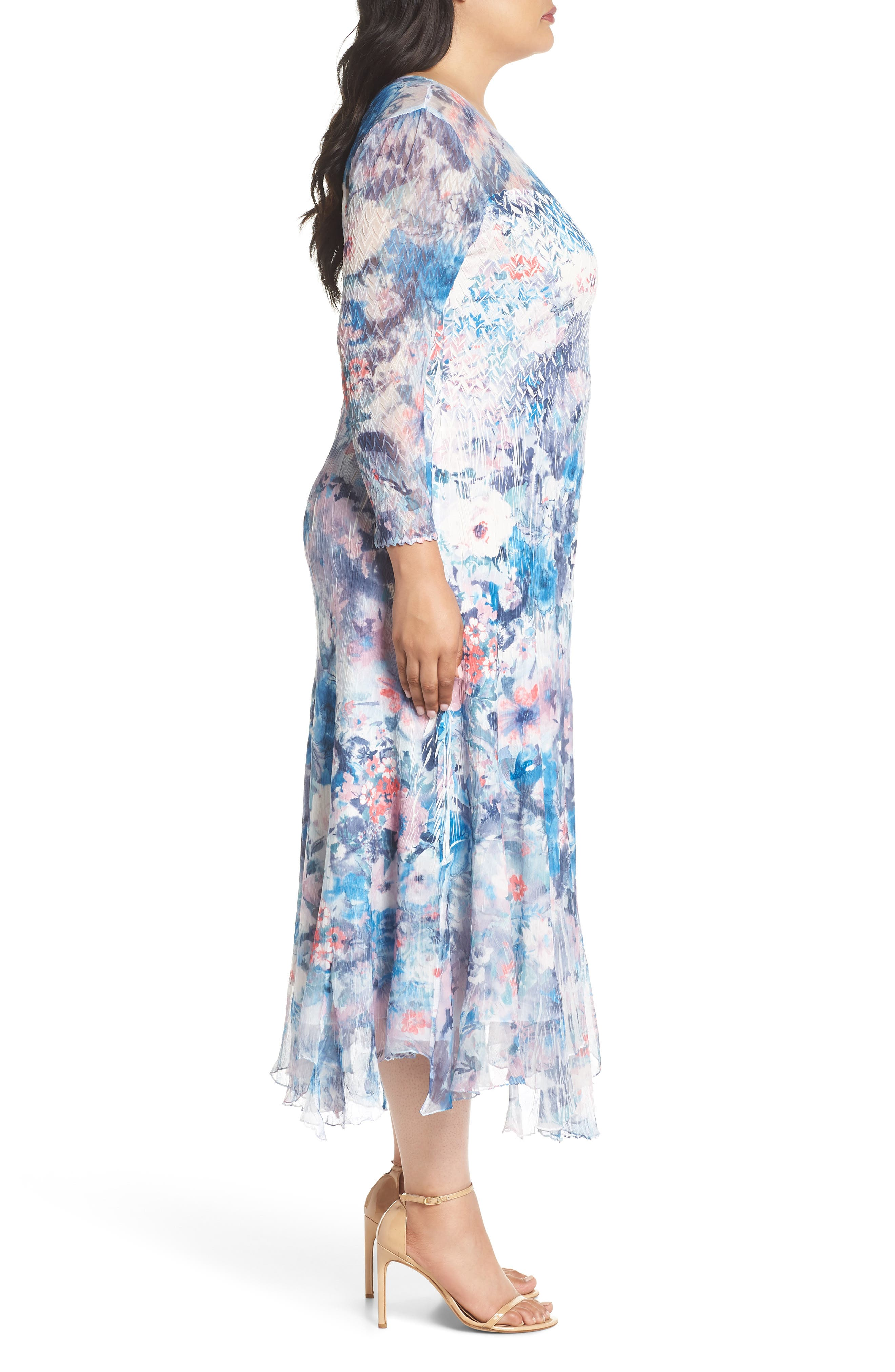 Inset Floral Charmeuse & Chiffon A-Line Dress,                             Alternate thumbnail 3, color,                             405