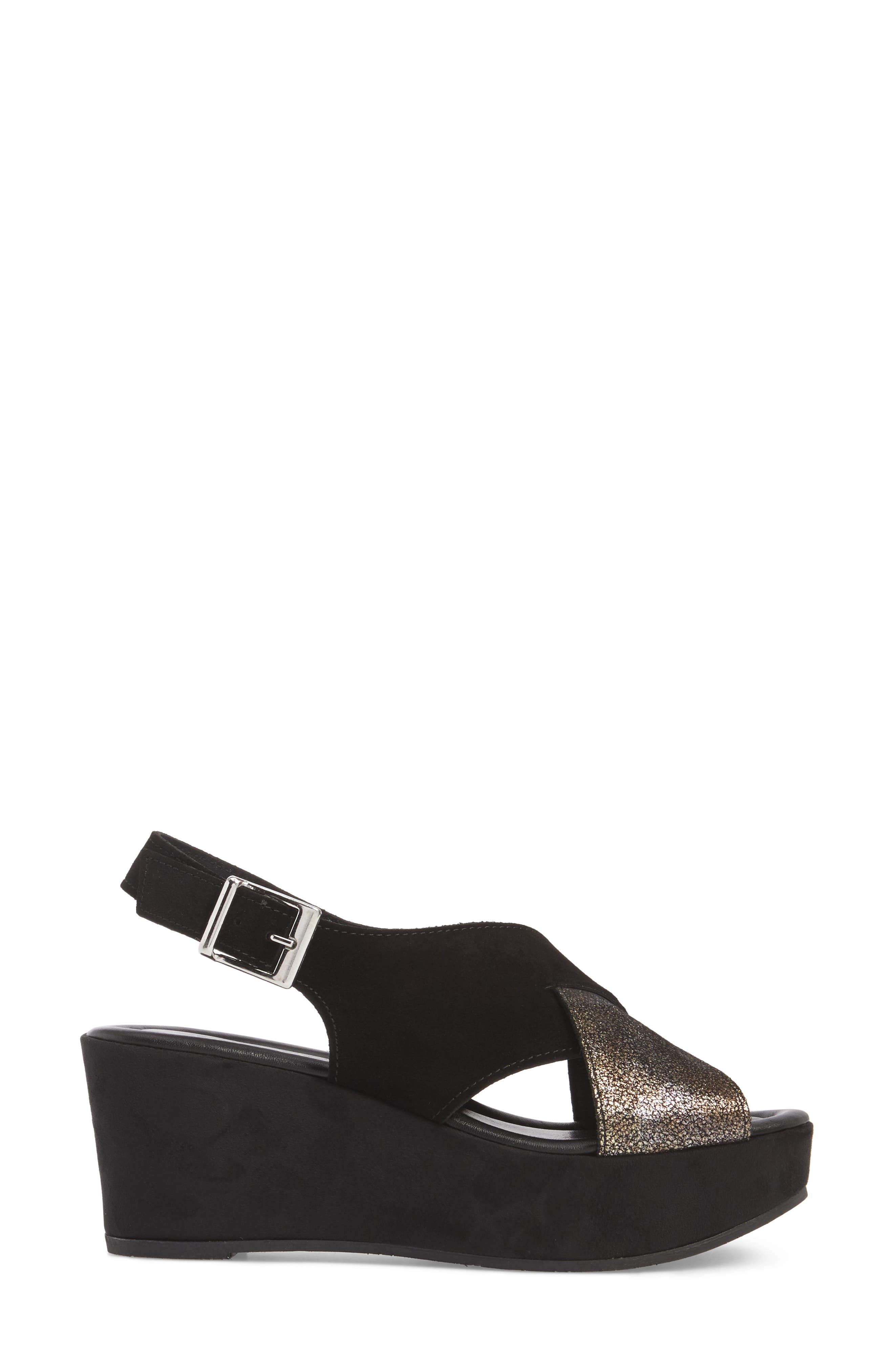 Cleary Wedge Sandal,                             Alternate thumbnail 3, color,                             BLACK/ PEWTER SUEDE
