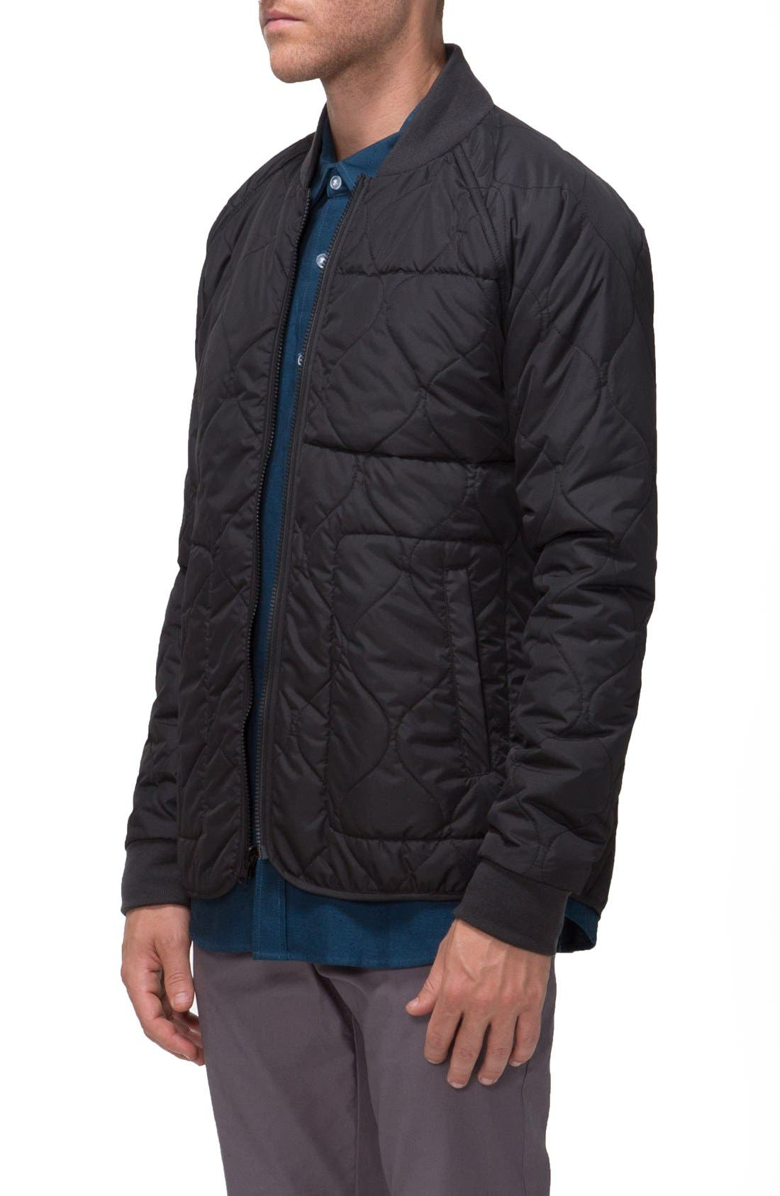 Fullton Zip-In Compatible Quilted Bomber Jacket,                             Alternate thumbnail 3, color,                             001