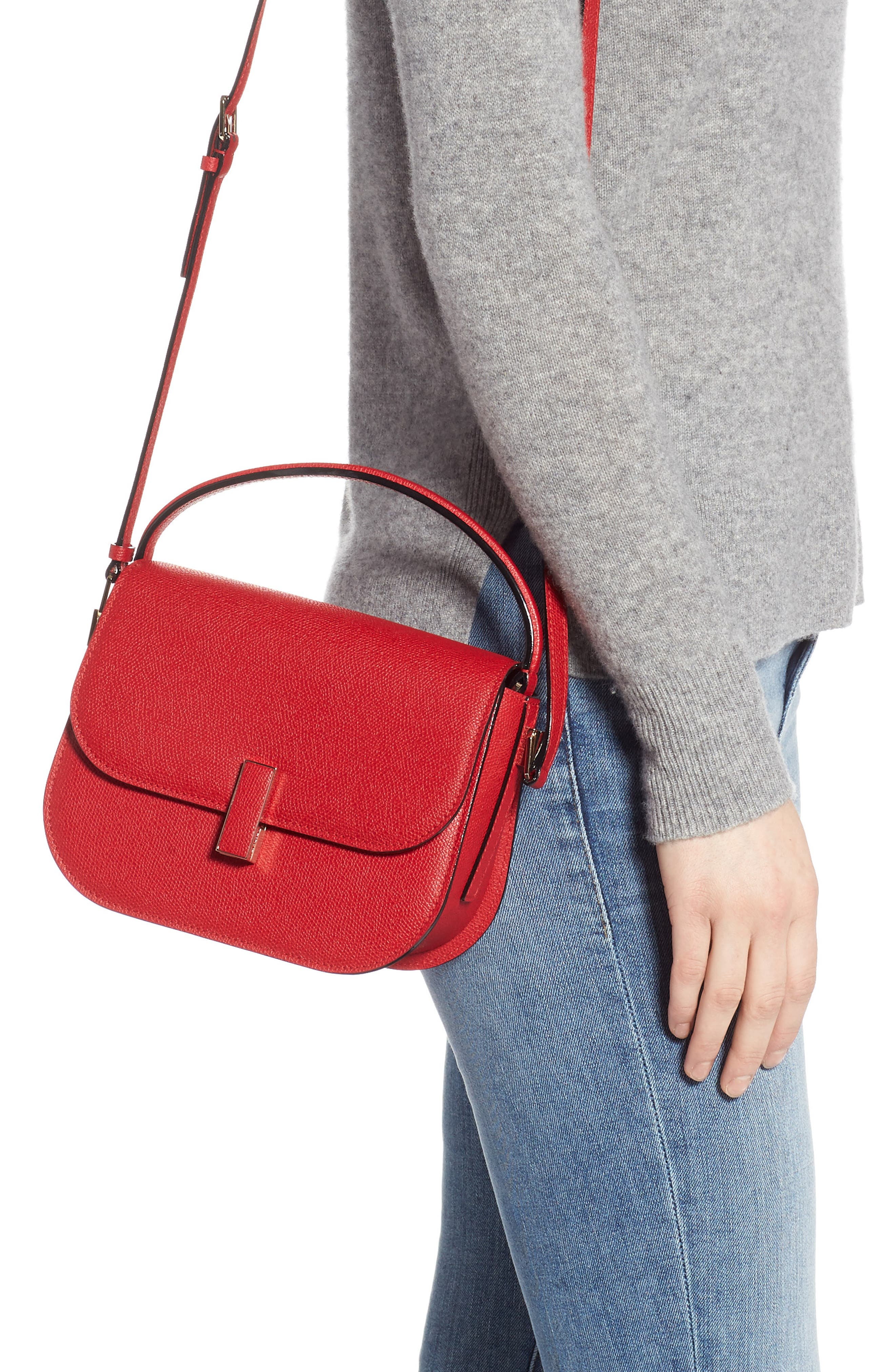 Iside Leather Top Handle Bag,                             Alternate thumbnail 2, color,                             RED