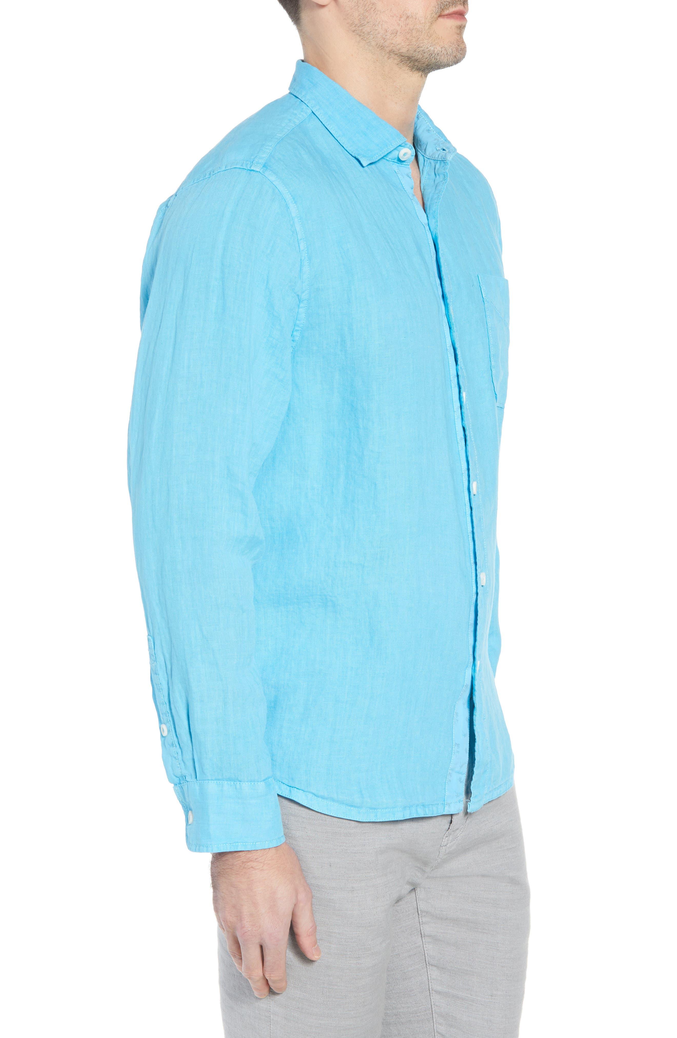 Seaspray Breezer Standard Fit Linen Sport Shirt,                             Alternate thumbnail 3, color,                             POOL PARTY BLUE