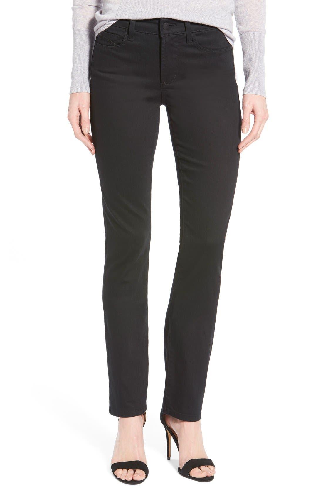 'Samantha' Stretch Slim Straight Leg Jeans,                             Main thumbnail 1, color,                             001