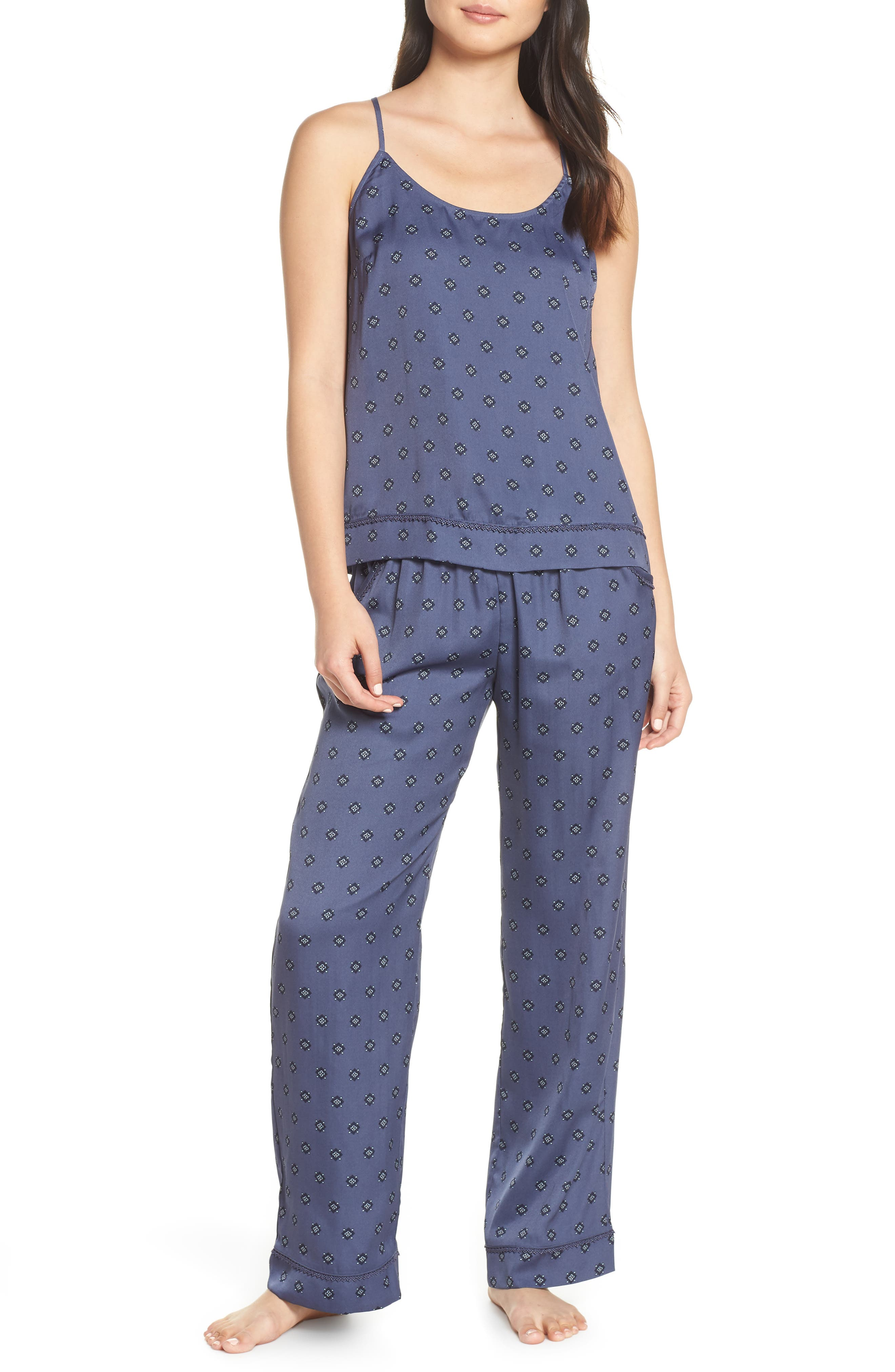Nordstrom Lingerie Sweet Dreams Satin Pajamas, Blue