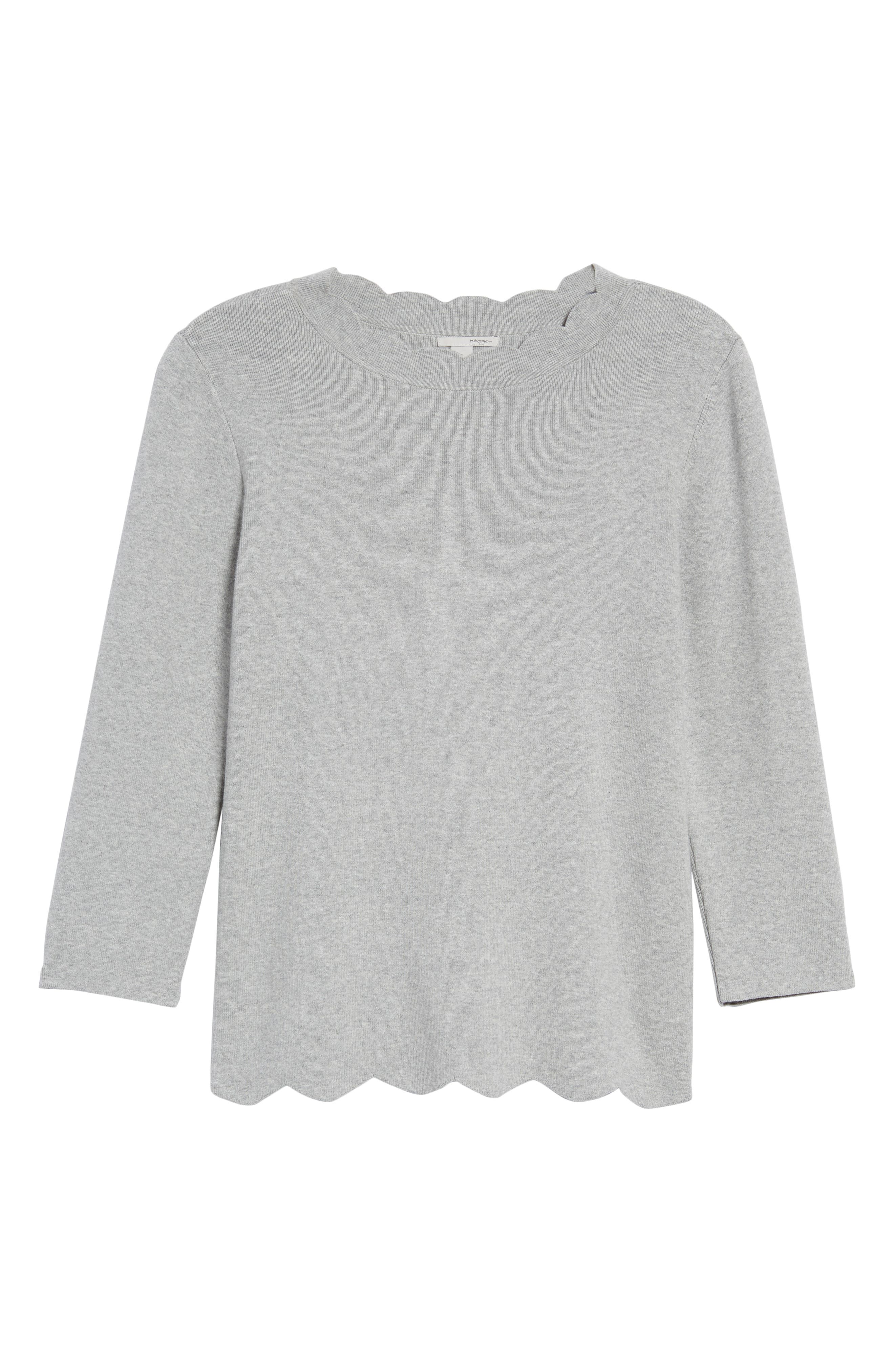 Halogen Scallop Edge Sweater,                             Alternate thumbnail 6, color,                             030