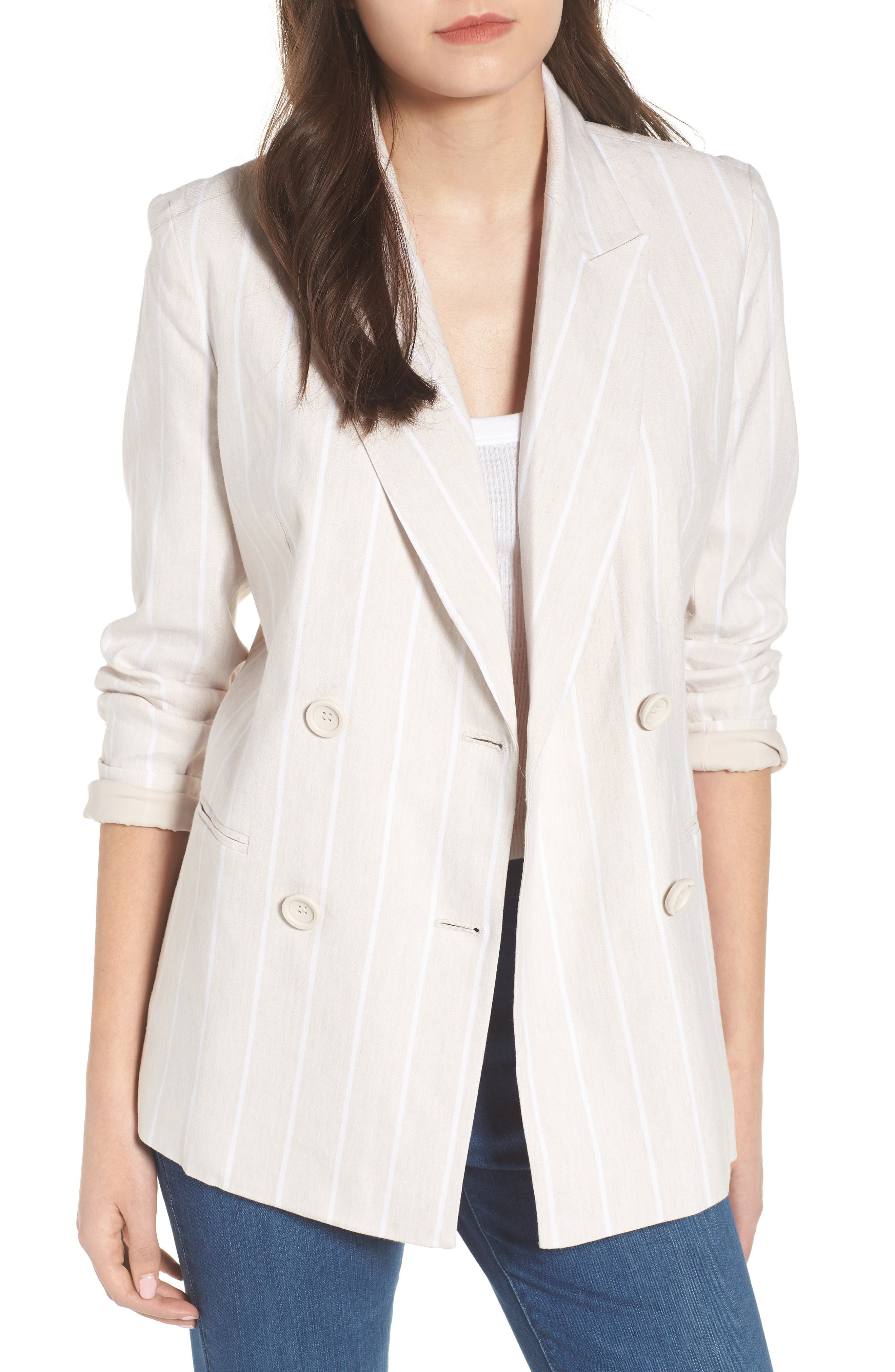 Double Breasted Linen Blend Blazer,                             Main thumbnail 1, color,