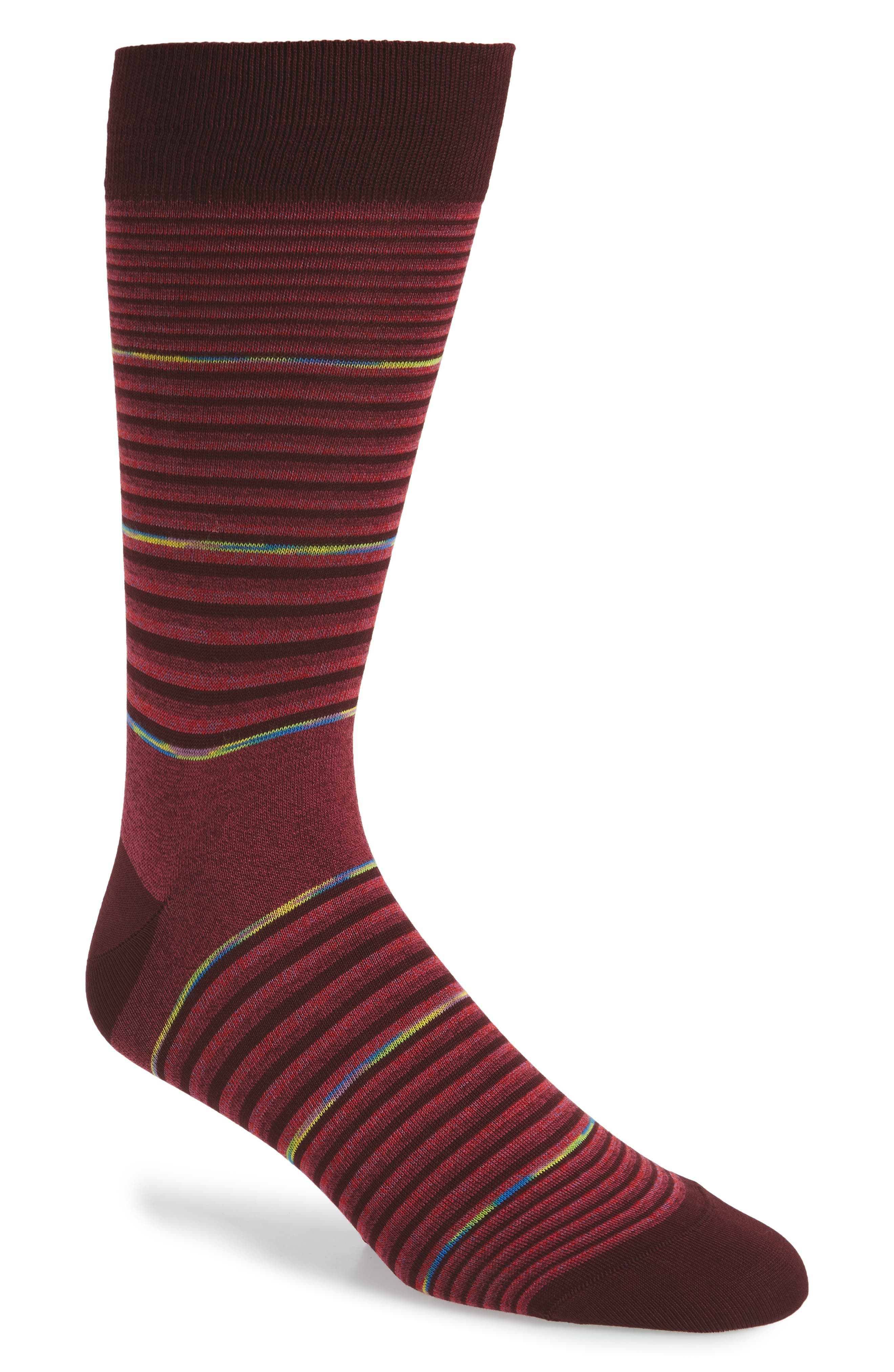 men's bugatchi stripe socks, size one size - red