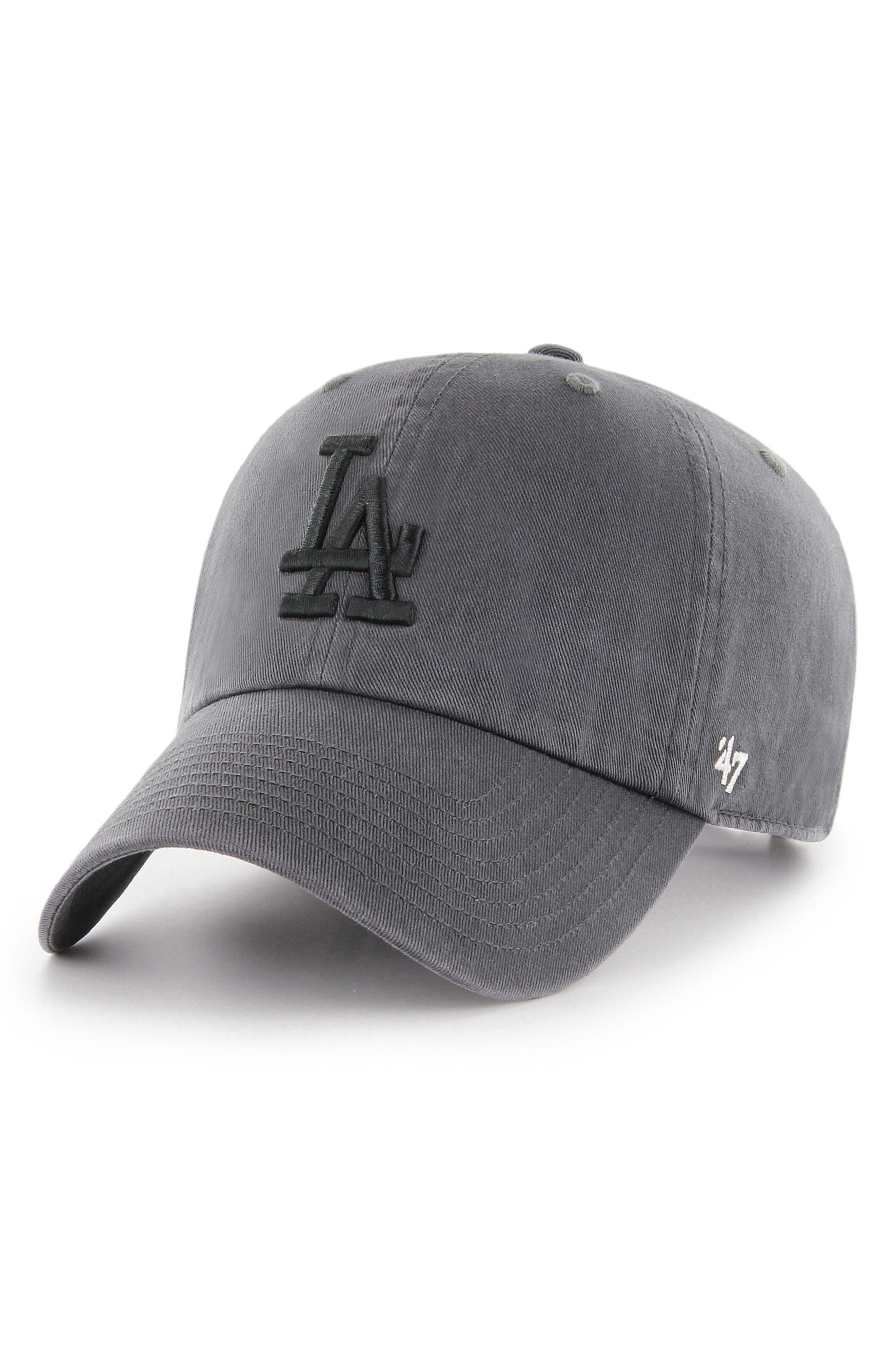 Clean Up LA Dodgers Baseball Cap,                             Main thumbnail 1, color,                             CHARCOAL