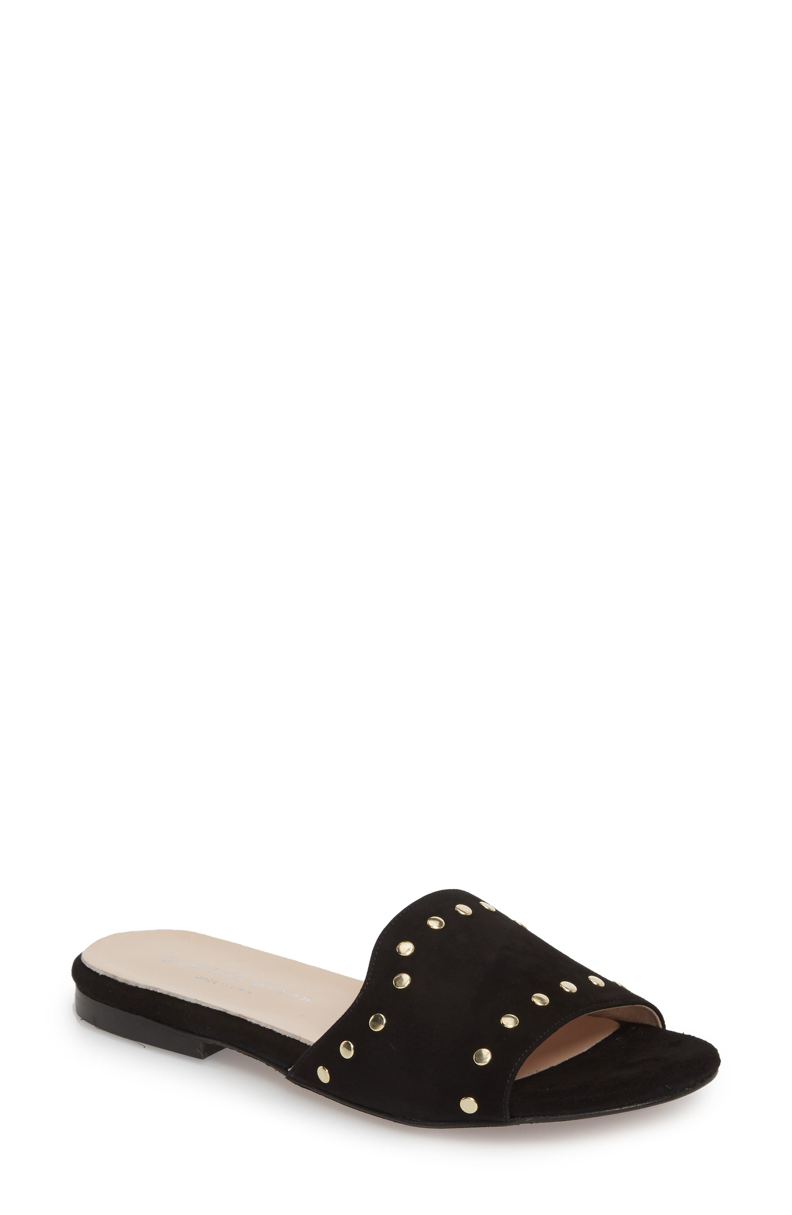 Mira Slide Sandal,                         Main,                         color, BLACK SUEDE