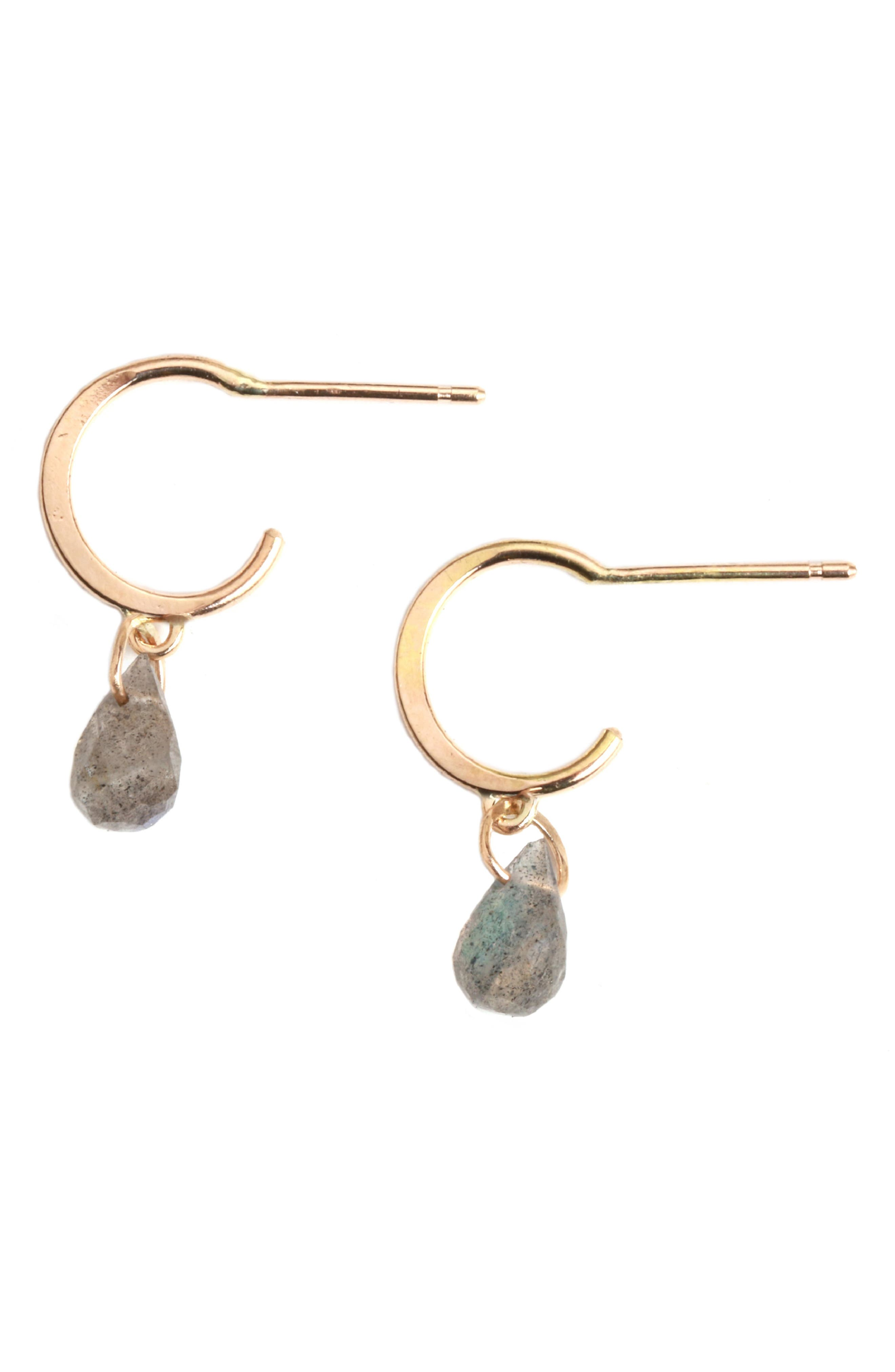 MELISSA JOY MANNING Mini Hoop Stone Drop Earrings in Labradorite/ Yellow Gold