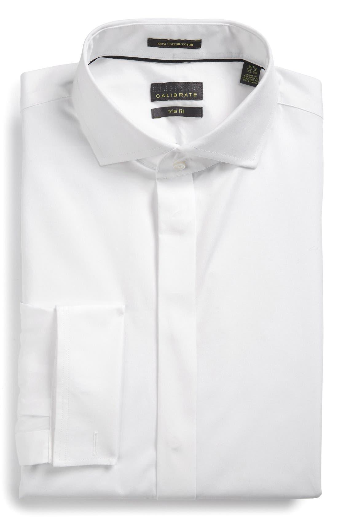 Trim Fit Solid Tuxedo Shirt,                             Main thumbnail 1, color,                             100