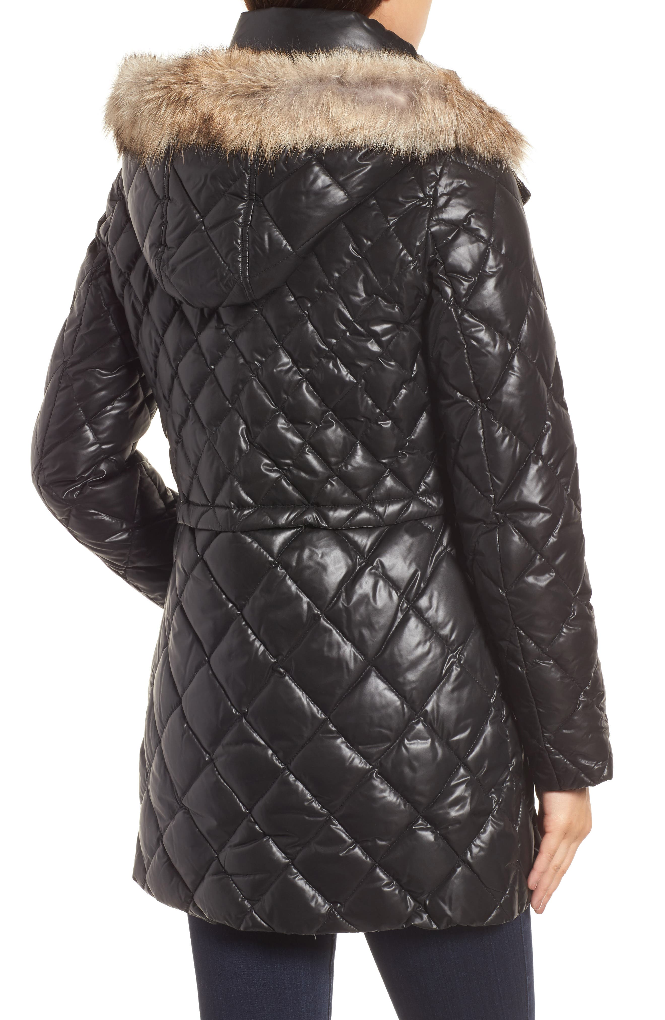 Quilted Anorak with Genuine Coyote Fur,                             Alternate thumbnail 2, color,                             001