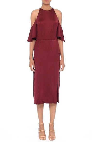 Flutter Sleeve Cold Shoulder Pencil Dress, video thumbnail