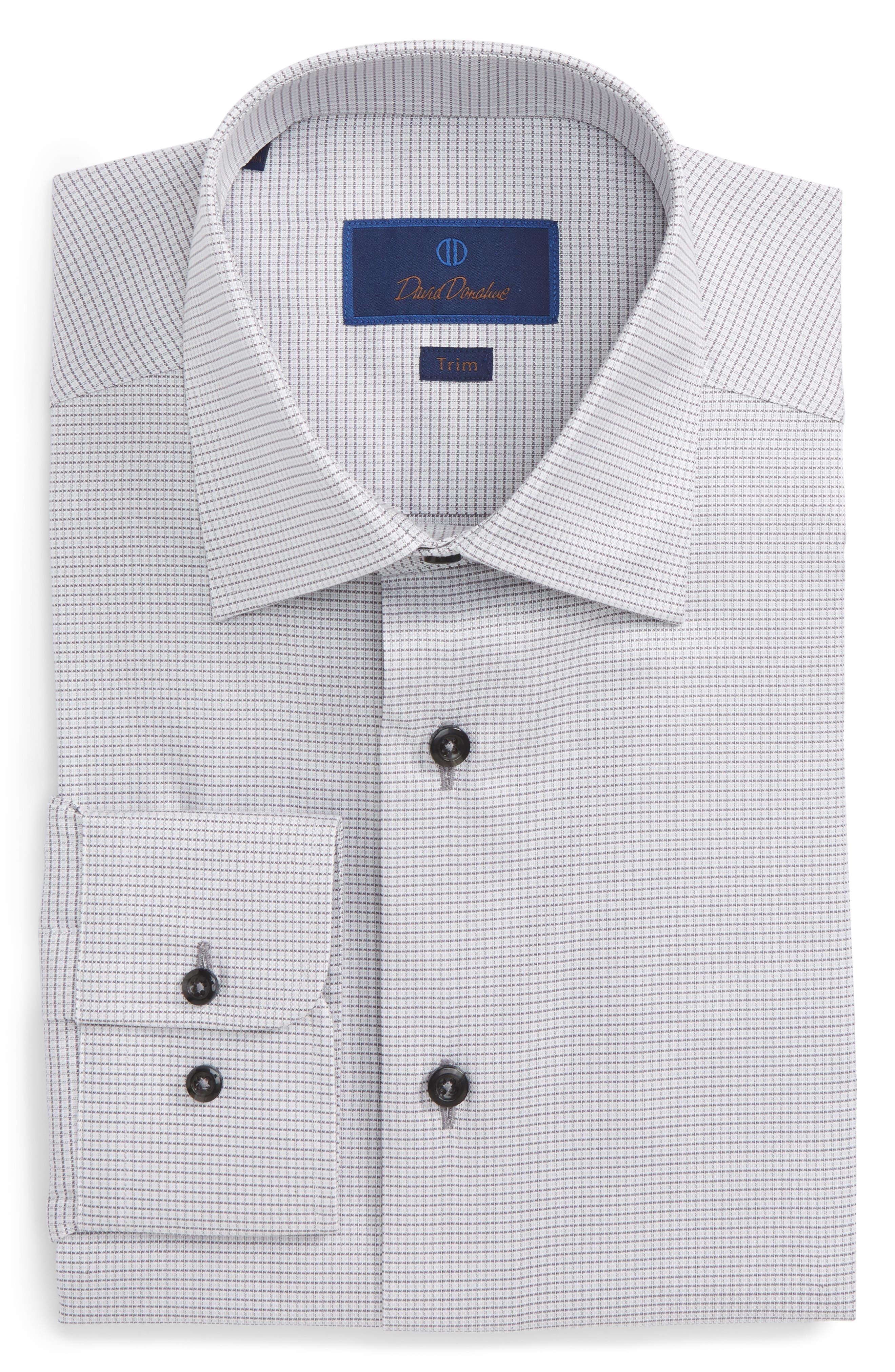 Trim Fit Check Dress Shirt,                         Main,                         color, 020