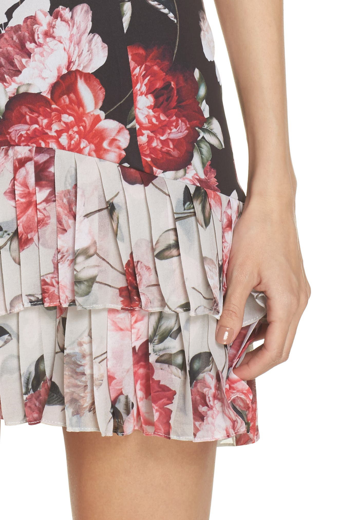 Oksana Floral Dress,                             Alternate thumbnail 4, color,                             410
