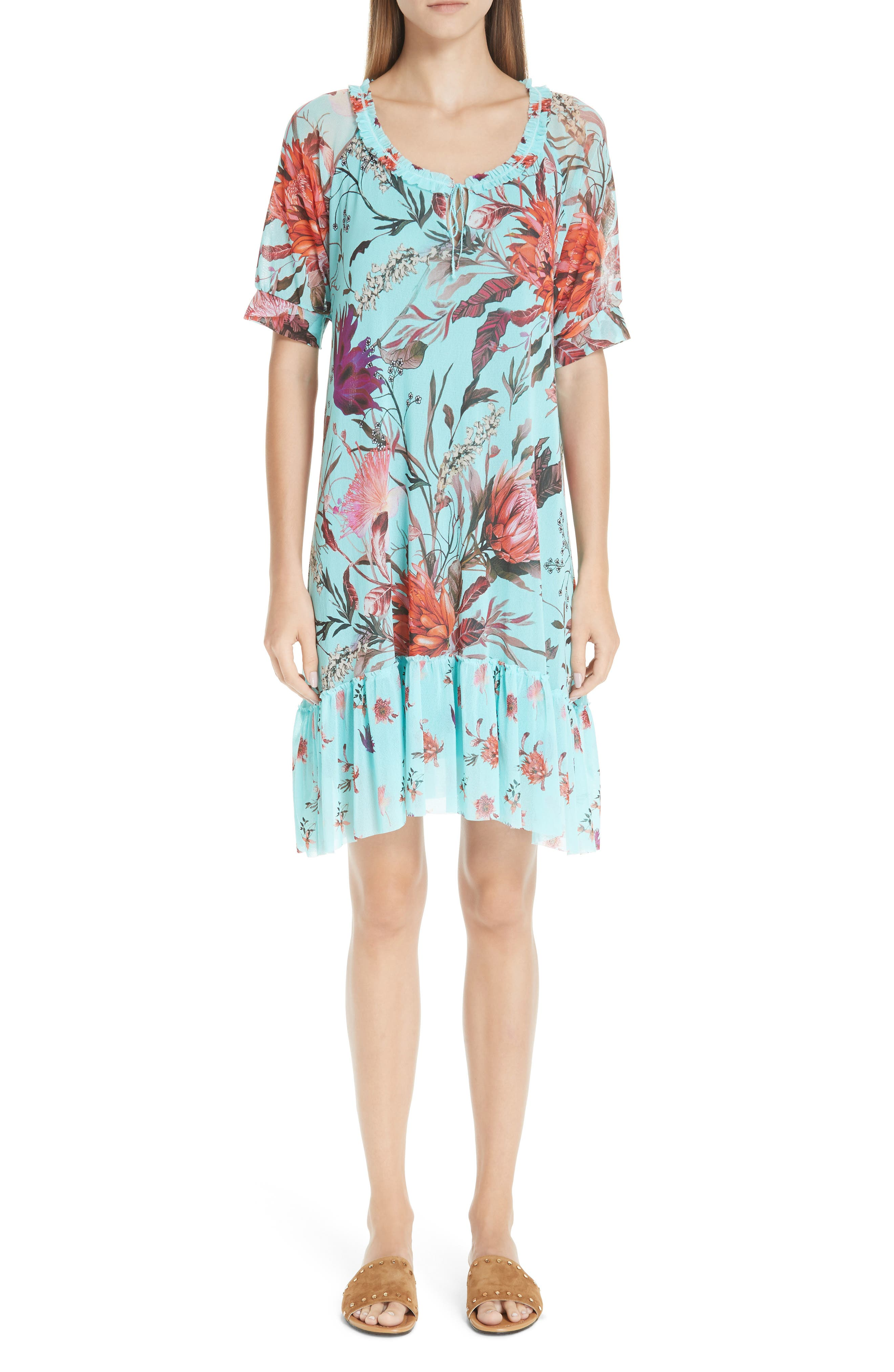 Fuzzi Floral Ruffle Tulle Dress, Blue