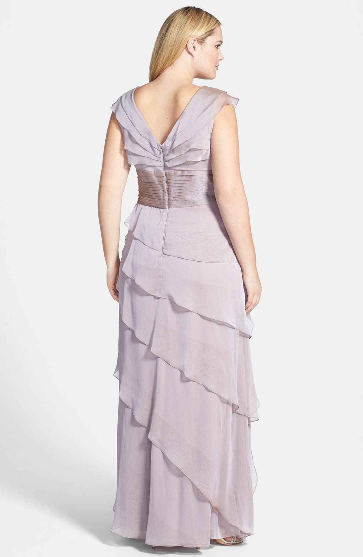 Adrianna Papell Iridescent Chiffon Petal Gown (Plus Size) | Nordstrom