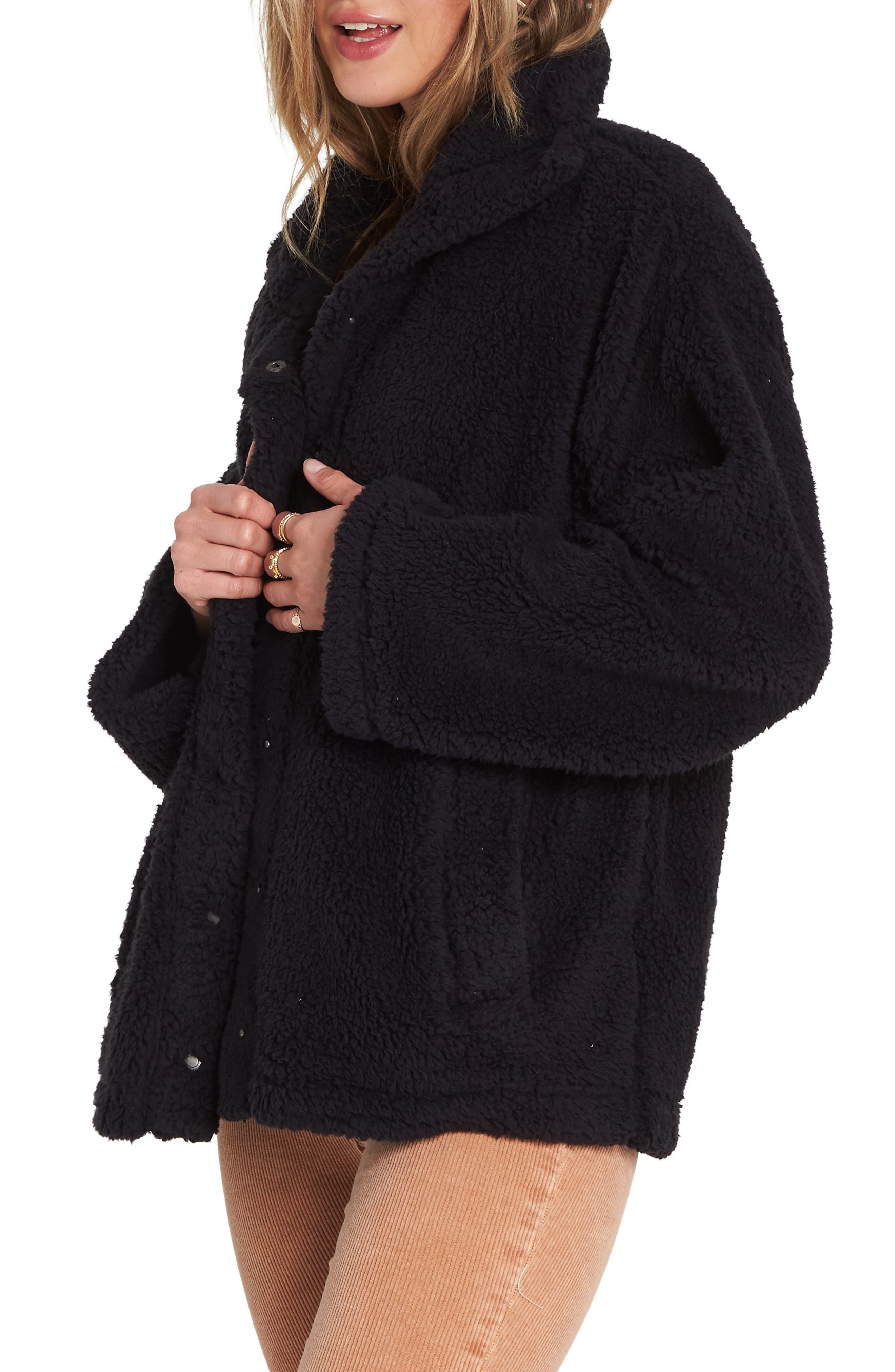 Cozy Days Faux Fur Jacket,                             Alternate thumbnail 3, color,                             BLACK