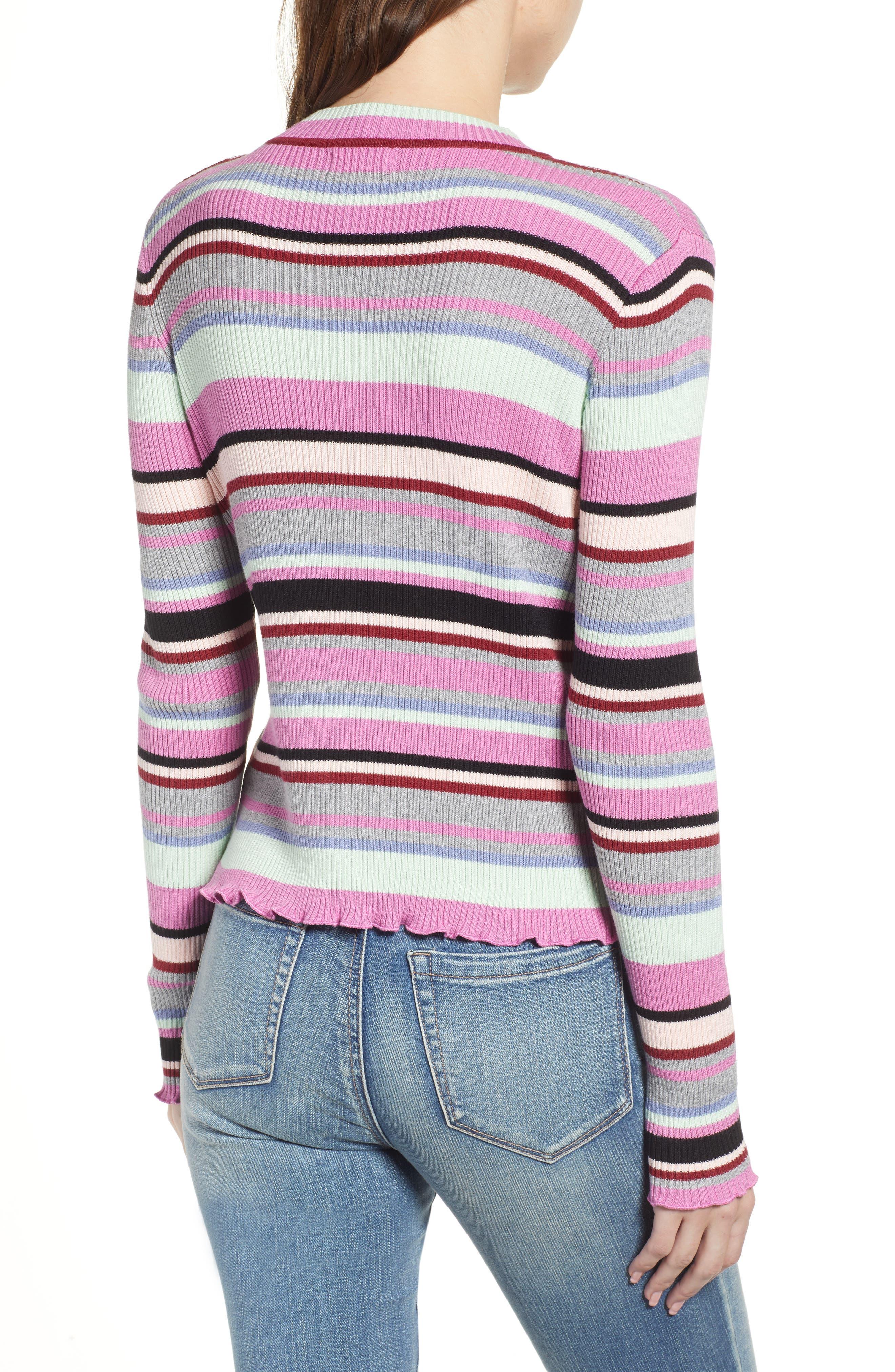 Ribbed Lettuce Edge Stripe Sweater,                             Alternate thumbnail 2, color,                             PURPLE TAFFY KARA MULTI STRIPE