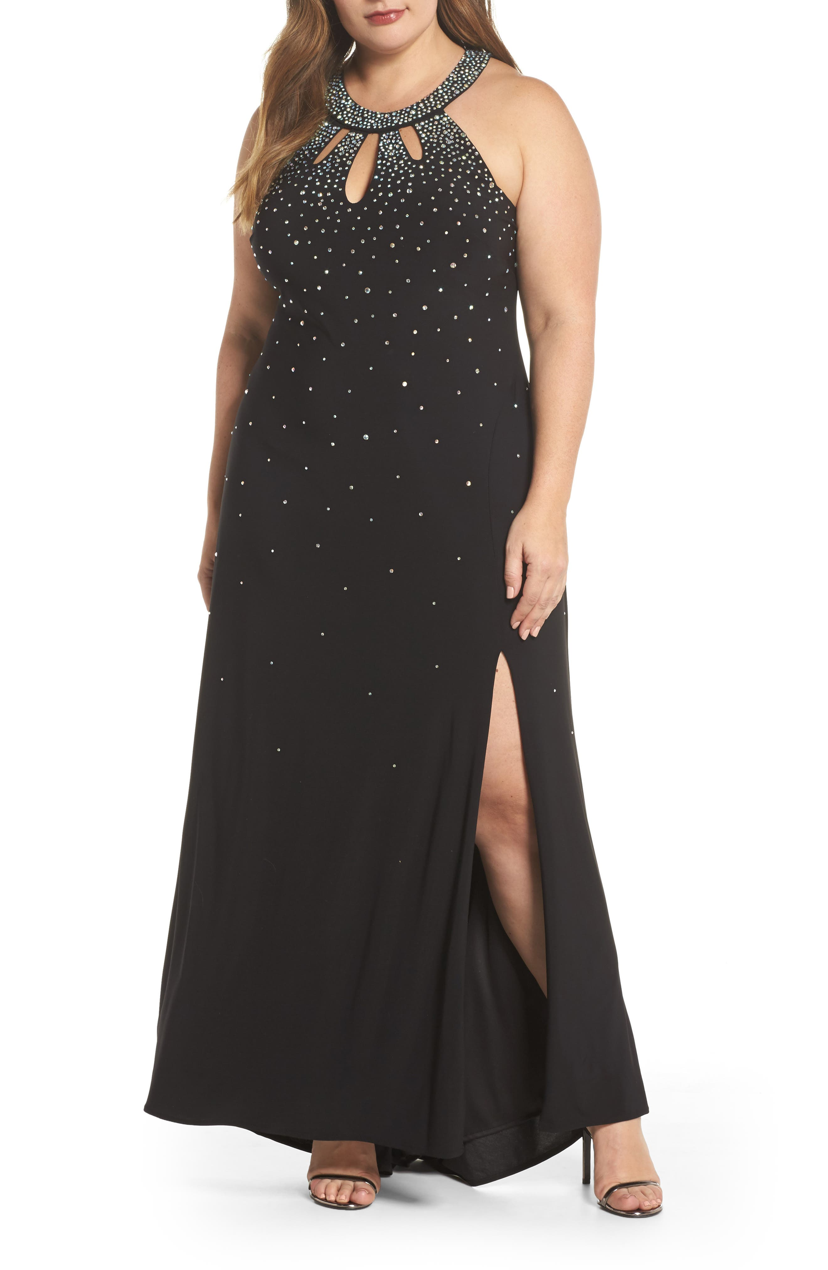 Heat Sealed Stone Knit Gown,                         Main,                         color, BLACK