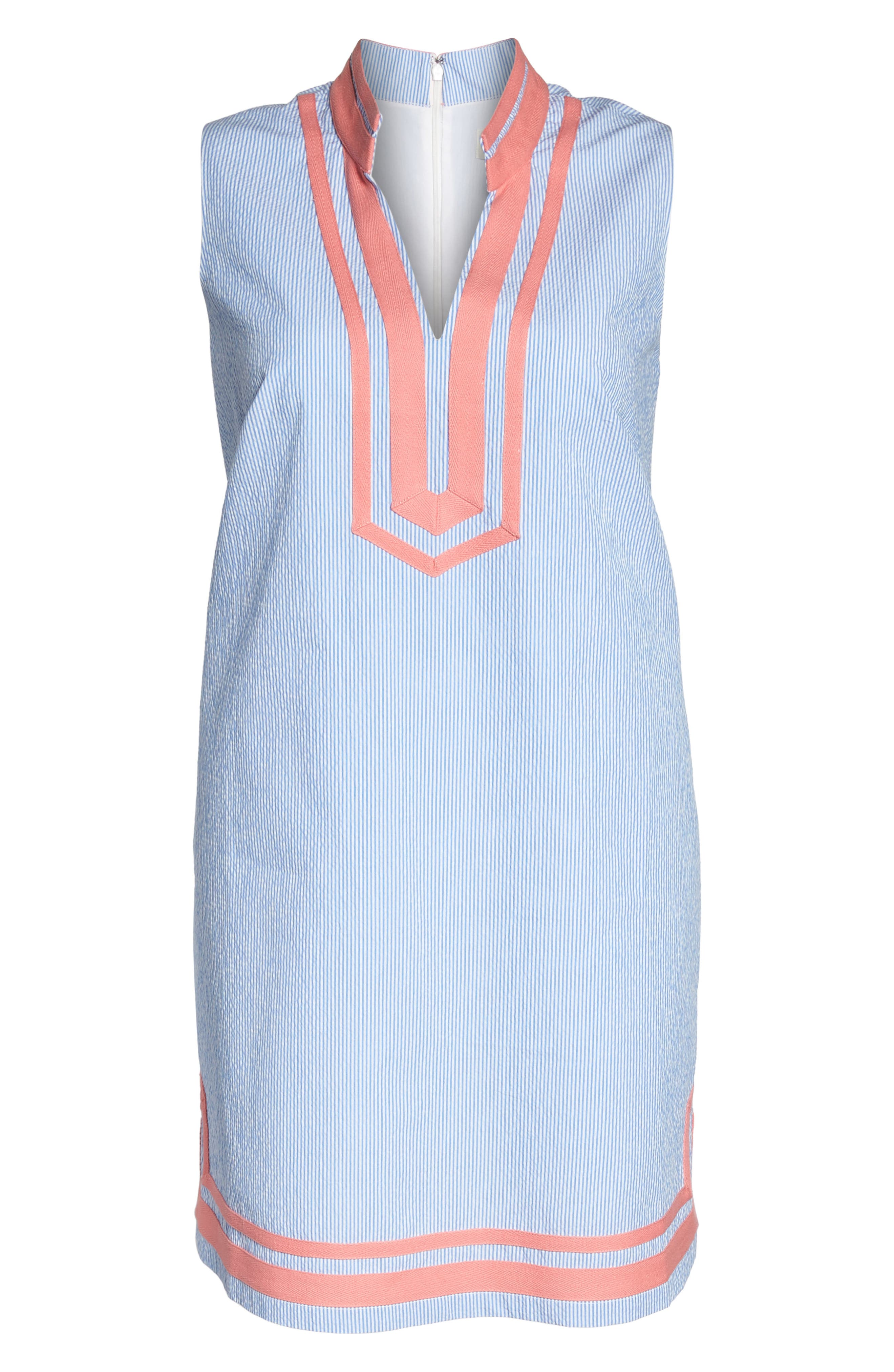 Mandarin Collar Contrast Trim Seersucker Shift Dress,                             Alternate thumbnail 6, color,