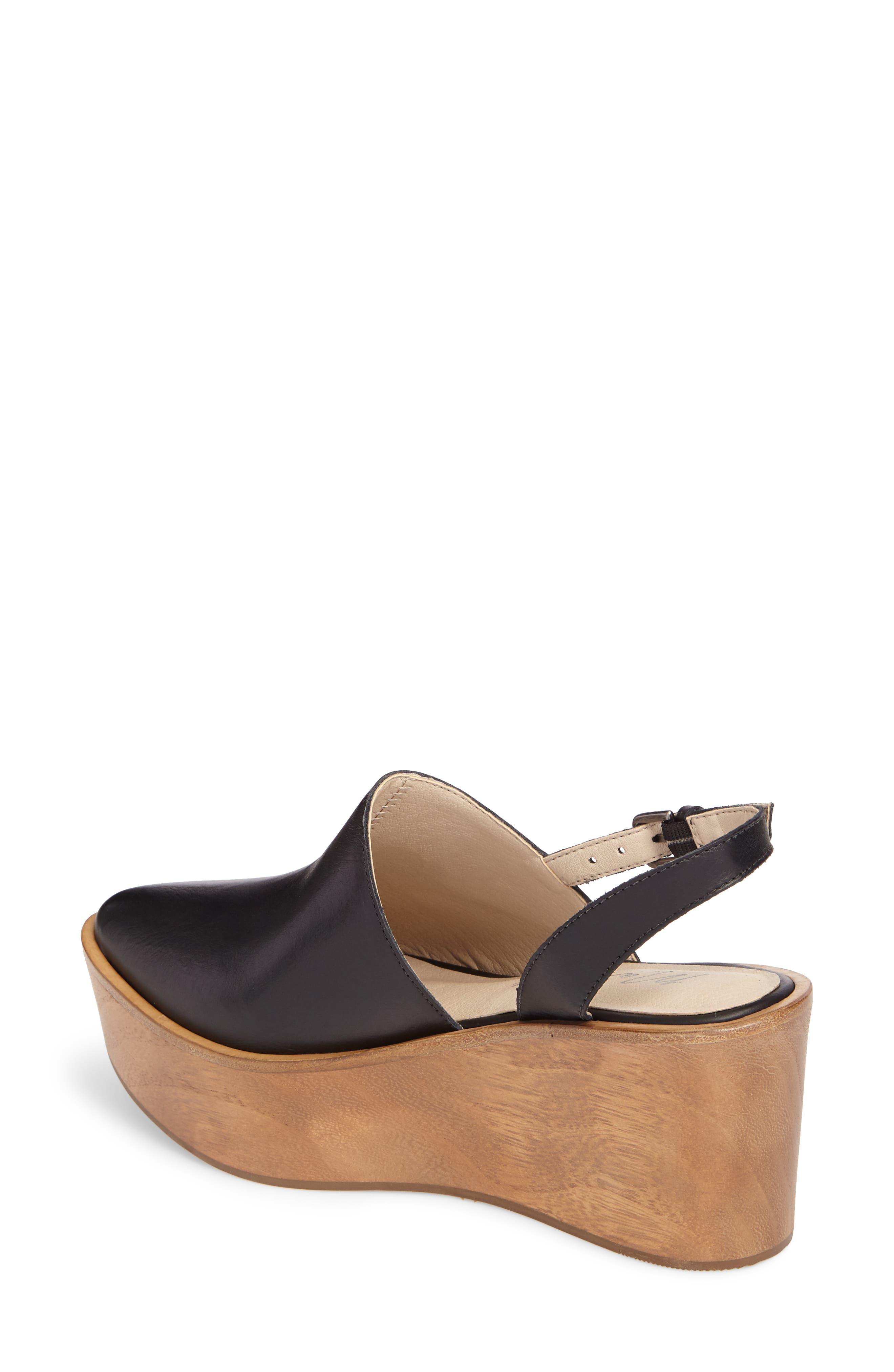 Eyals Slingback Platform Wedge Sandal,                             Alternate thumbnail 2, color,                             BLACK LEATHER