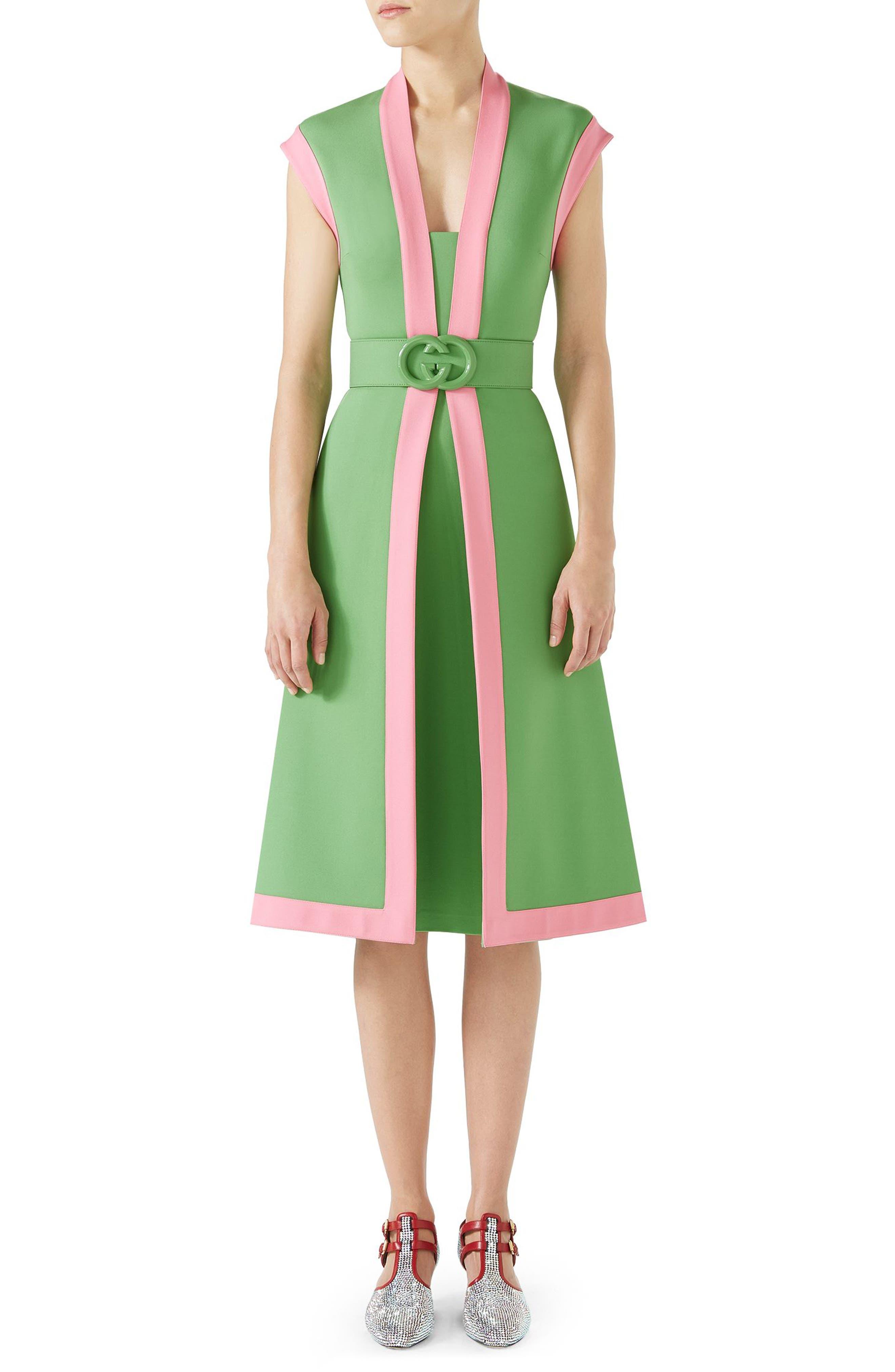 Contrast Trim Belted Dress,                             Alternate thumbnail 4, color,                             ALMOND FLOWER/ ROYAL