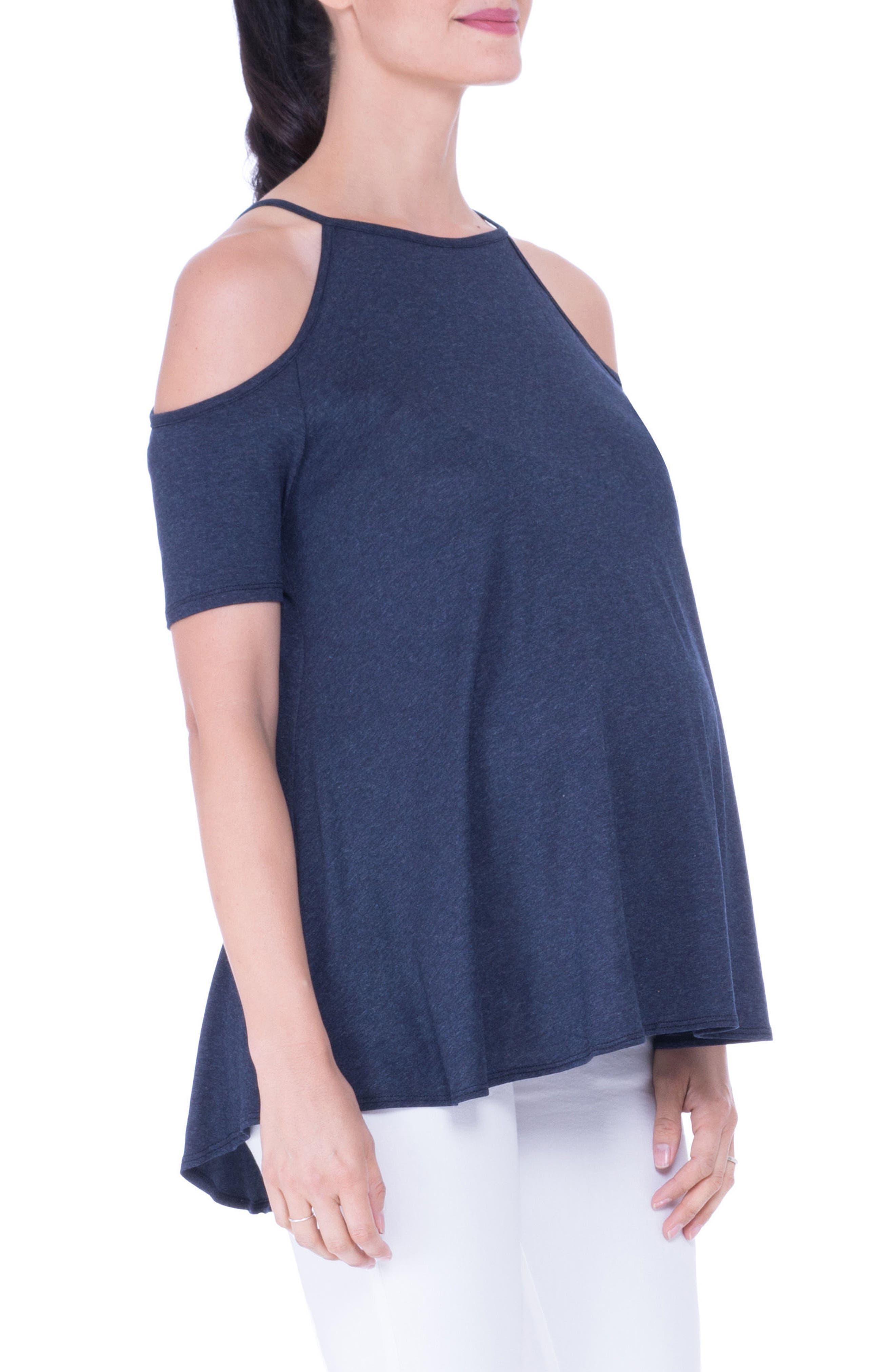 Open Shoulder Maternity Top,                             Alternate thumbnail 3, color,                             HEATHER NAVY