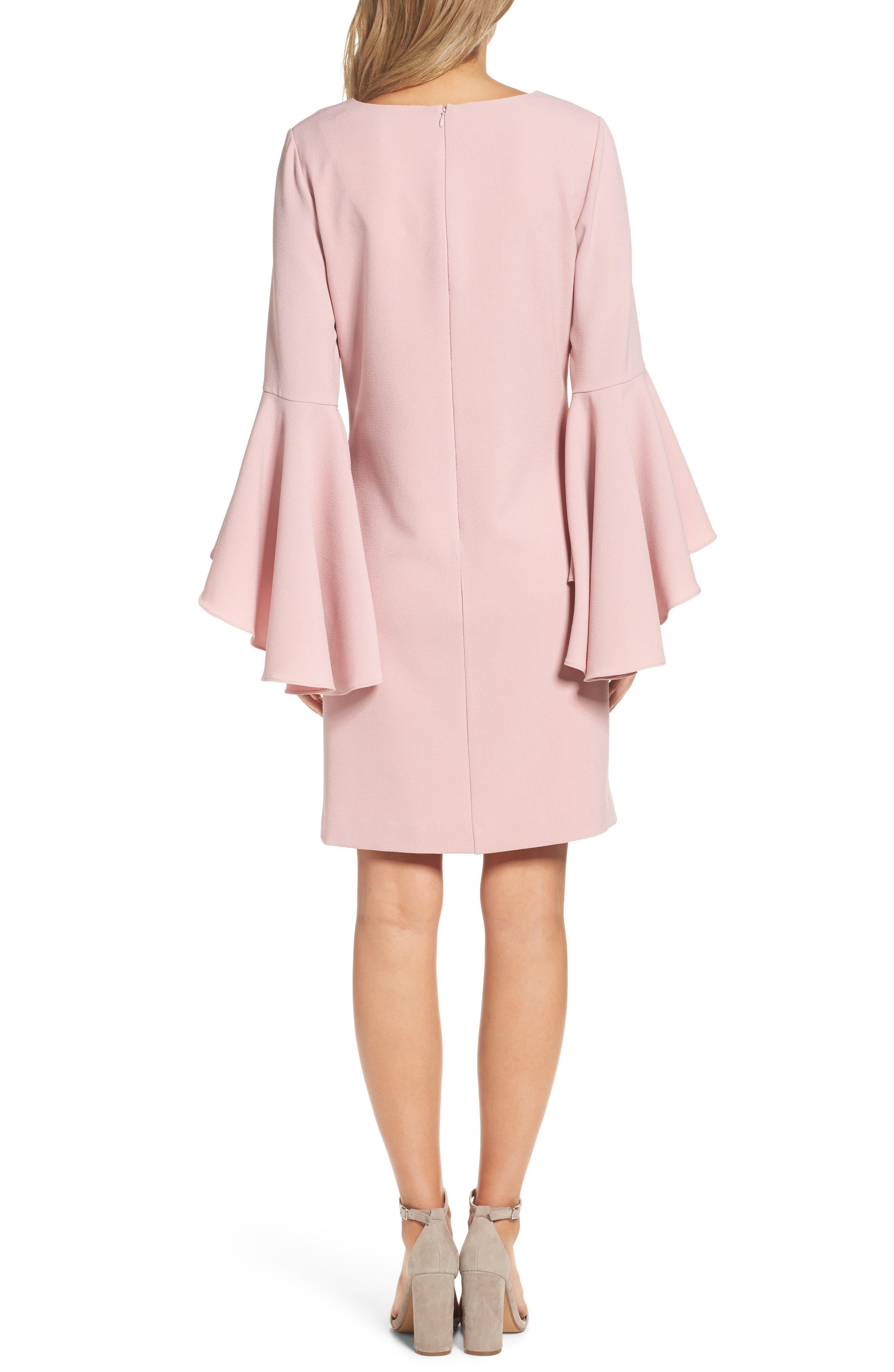 Bell Sleeve Crepe Shift Dress,                             Alternate thumbnail 9, color,